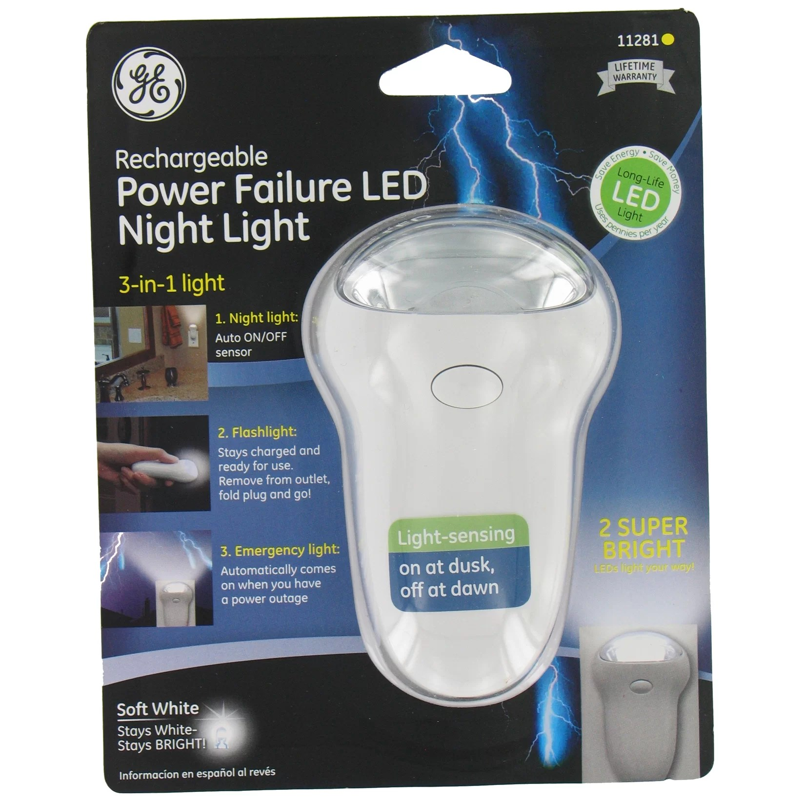Rechargeable Night Lamp Jasco 3 In 1 Rechargeable Power Failure Led Night Light
