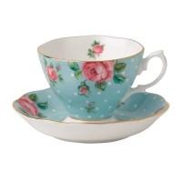 Royal Albert Polka Blue Formal Vintage Teacup and Saucer ...