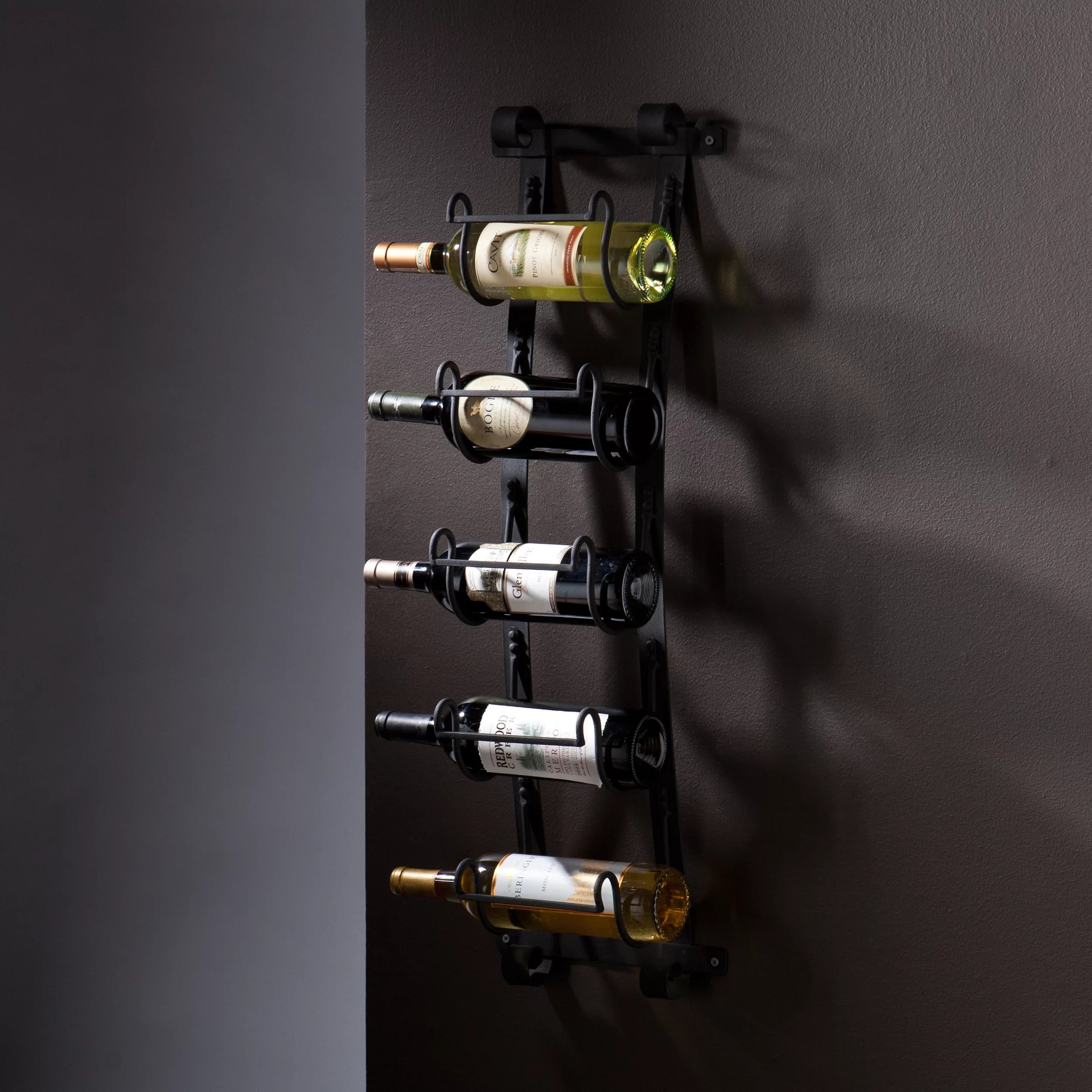 Iron Wine Rack Wall Mounted Wildon Home Cimarron 5 Bottle Wall Mounted Wine Rack