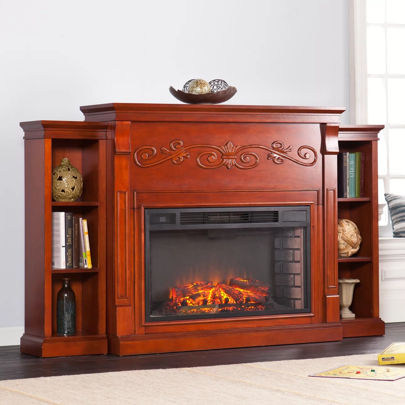 Tennyson Bookcase Electric Fireplace Electric Fireplace With Bookshelves Ivoiregion
