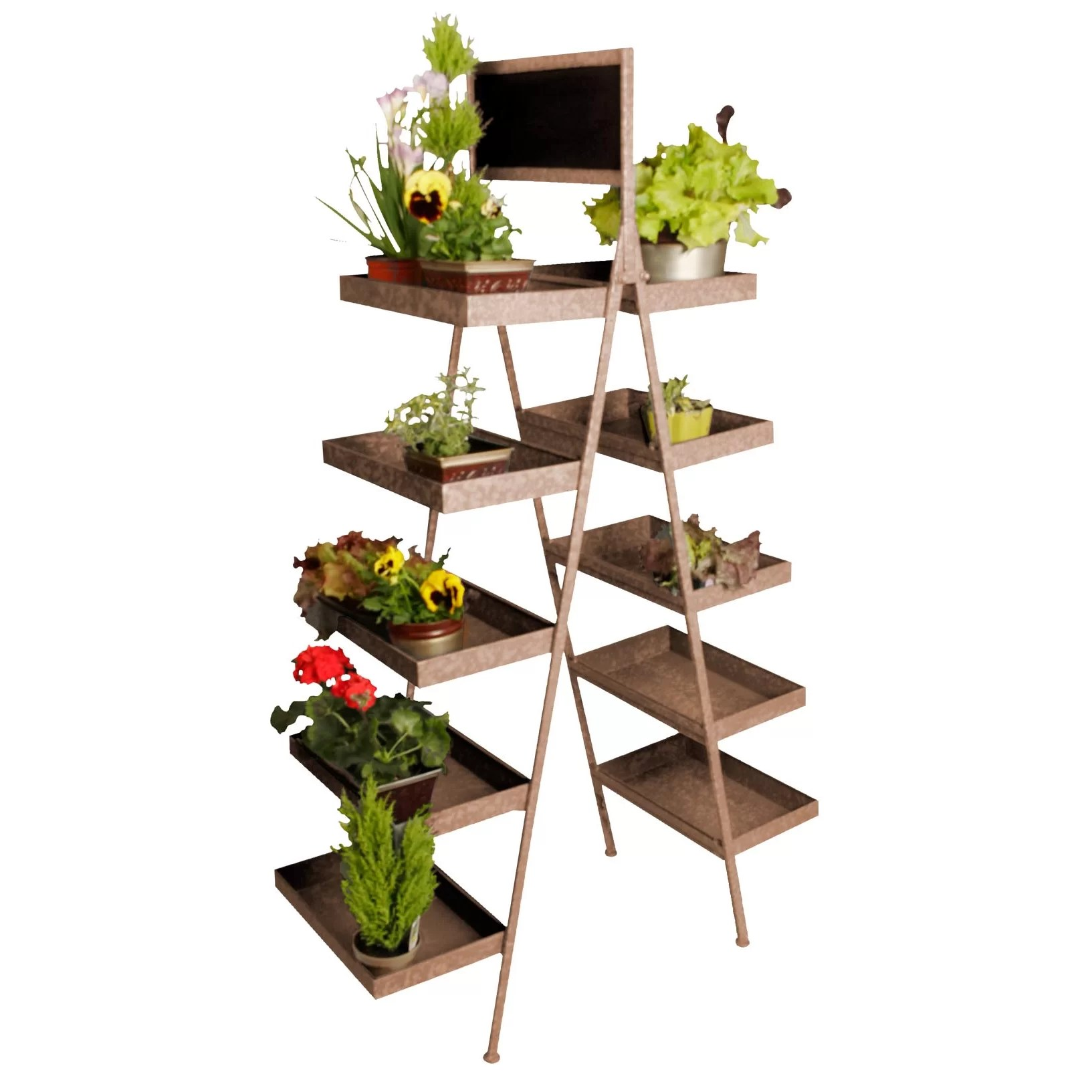 Tiered Plant Holders Waldimports Chalkboard Multi Tiered Plant Stand And Reviews