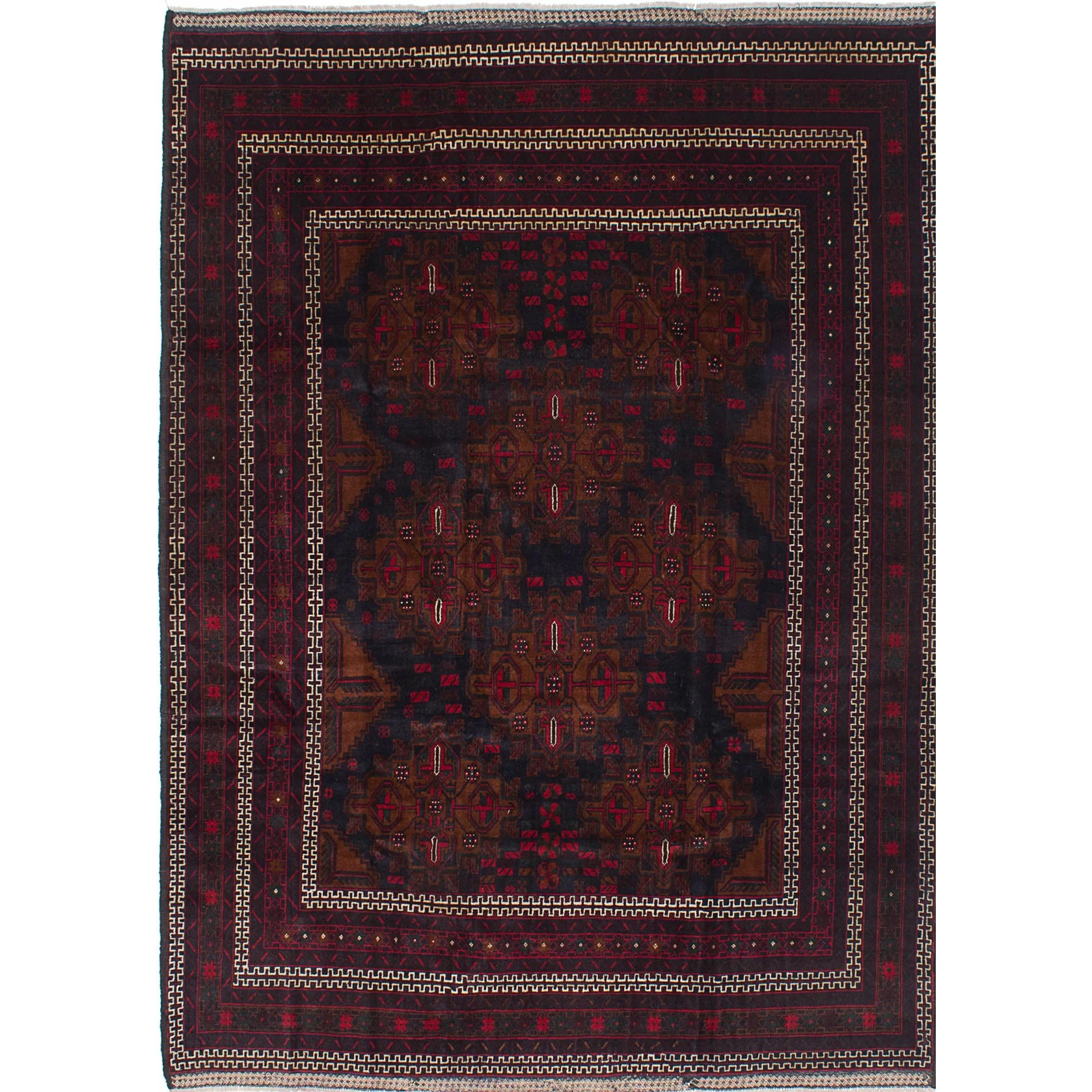 Ecarpetgallery Rizbaft Hand Knotted Blue Red Area Rug