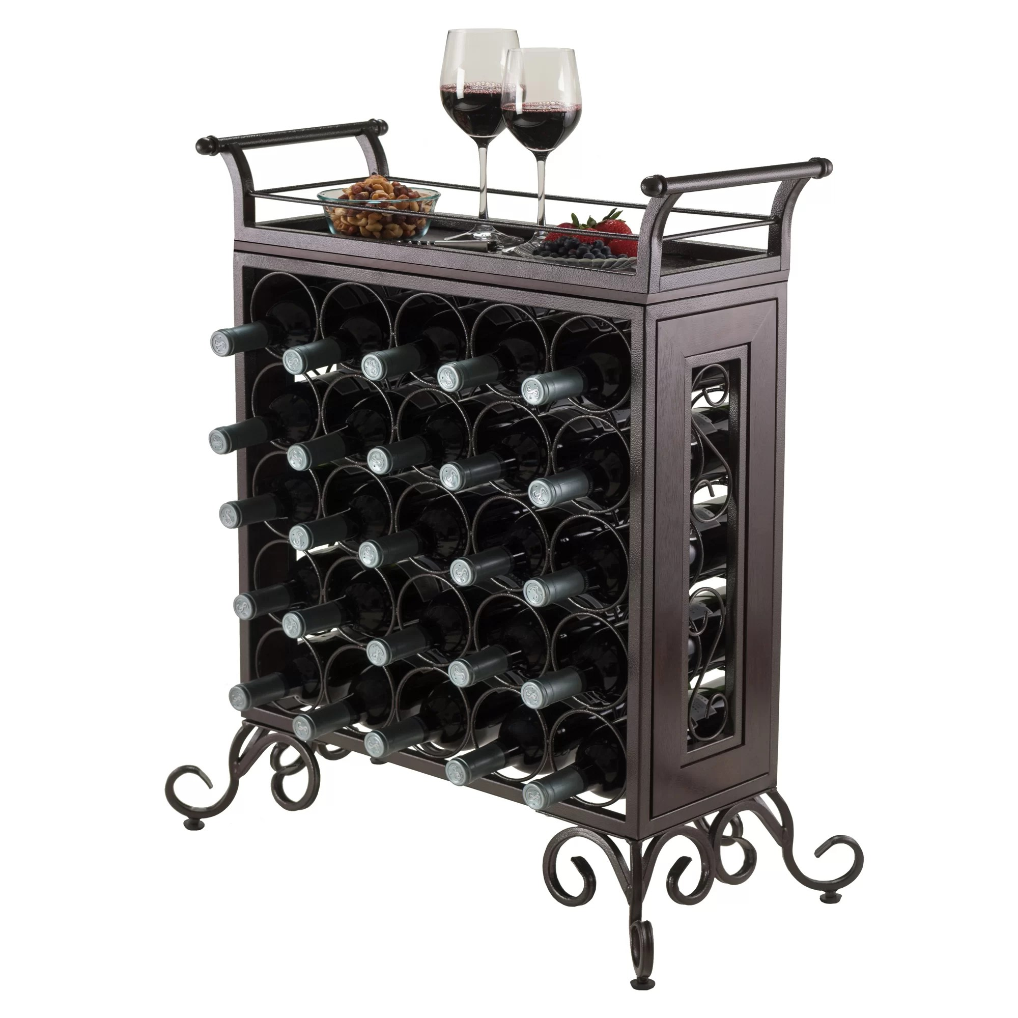 In Floor Wine Storage Winsome Silvano 25 Bottle Floor Wine Rack And Reviews Wayfair