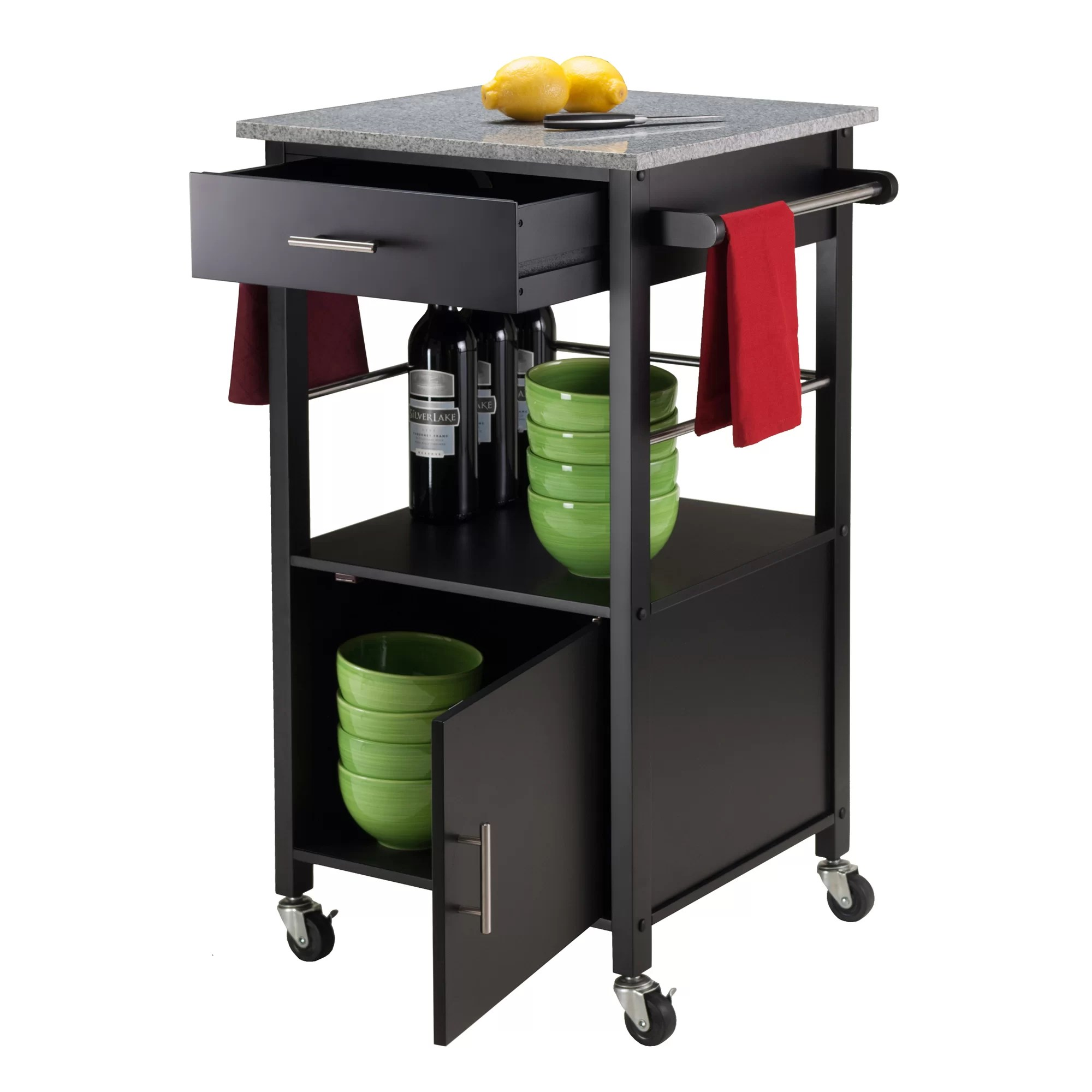 Kitchen Cart Canada Winsome Davenport Kitchen Cart With Granite Top And Reviews