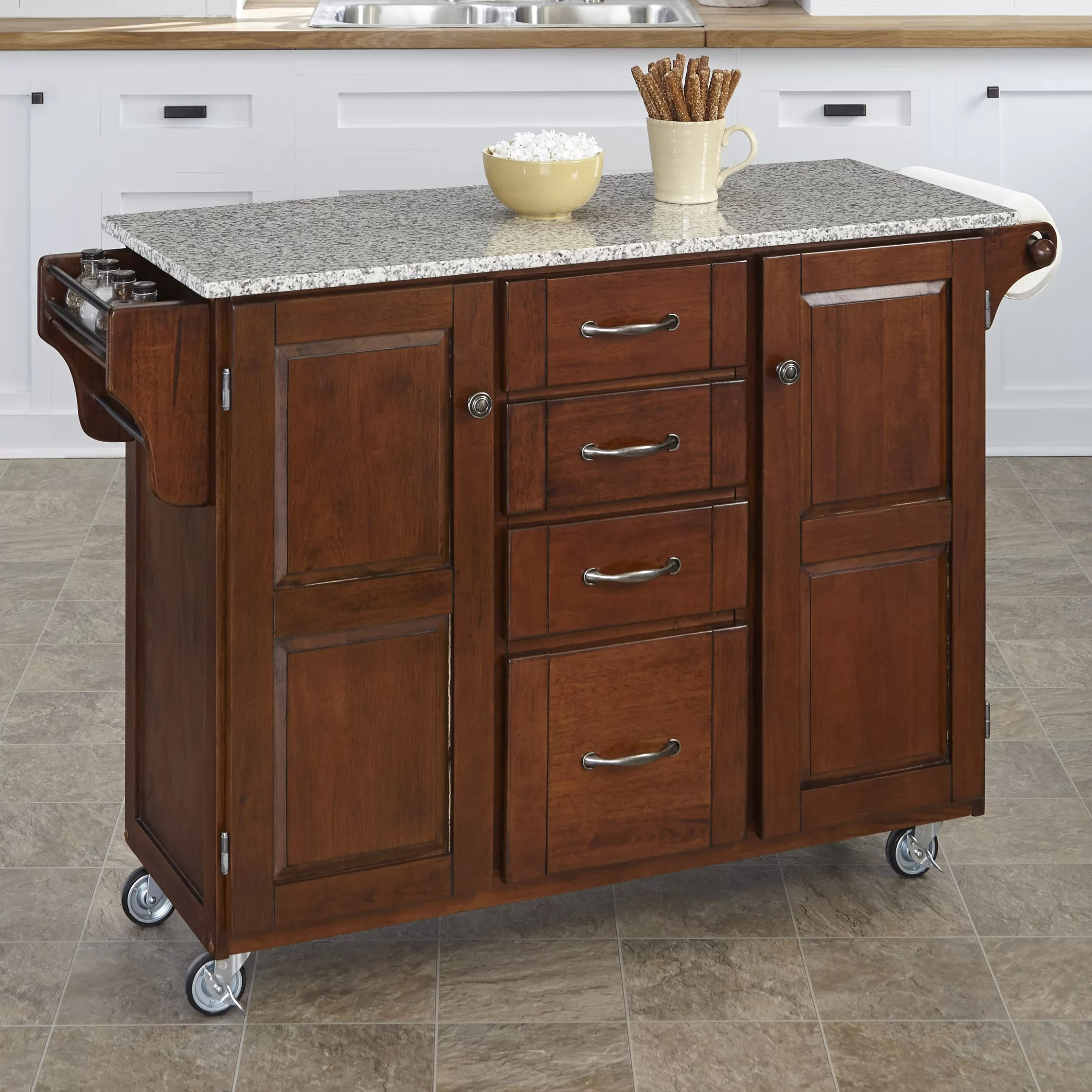 Granite Kitchen Islands Home Styles Create A Cart Kitchen Island With Granite Top