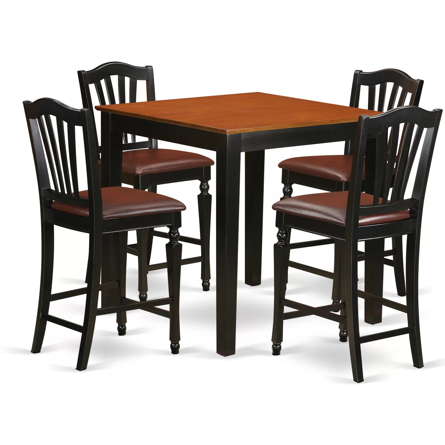 Bar Table Set East West 5 Piece Counter Height Pub Table Set Wayfair Ca
