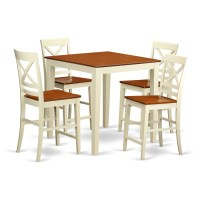 East West Vernon 5 Piece Counter Height Pub Table Set ...