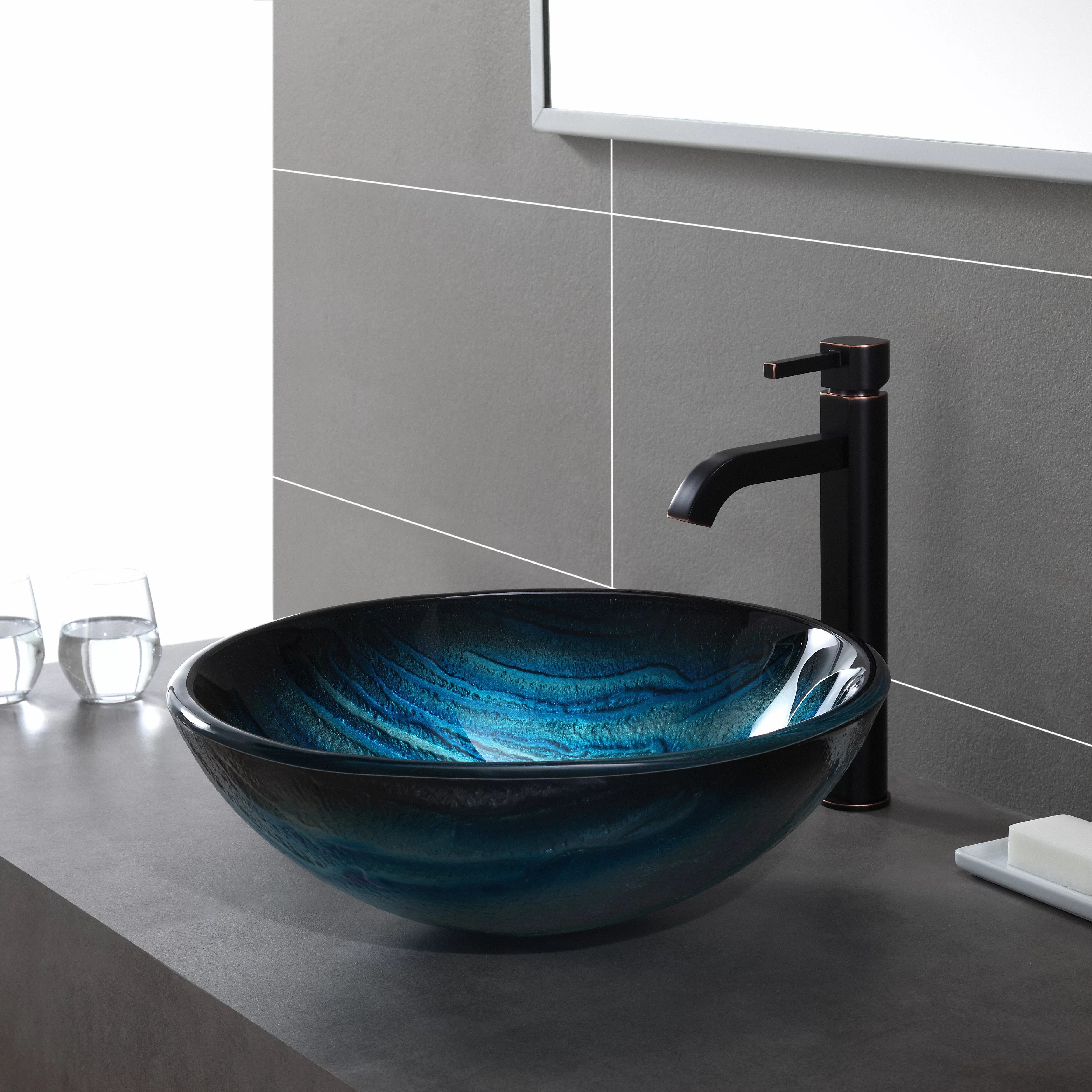Glass Bathroom Bowls Kraus Ladon Glass Vessel Sink And Reviews Wayfair