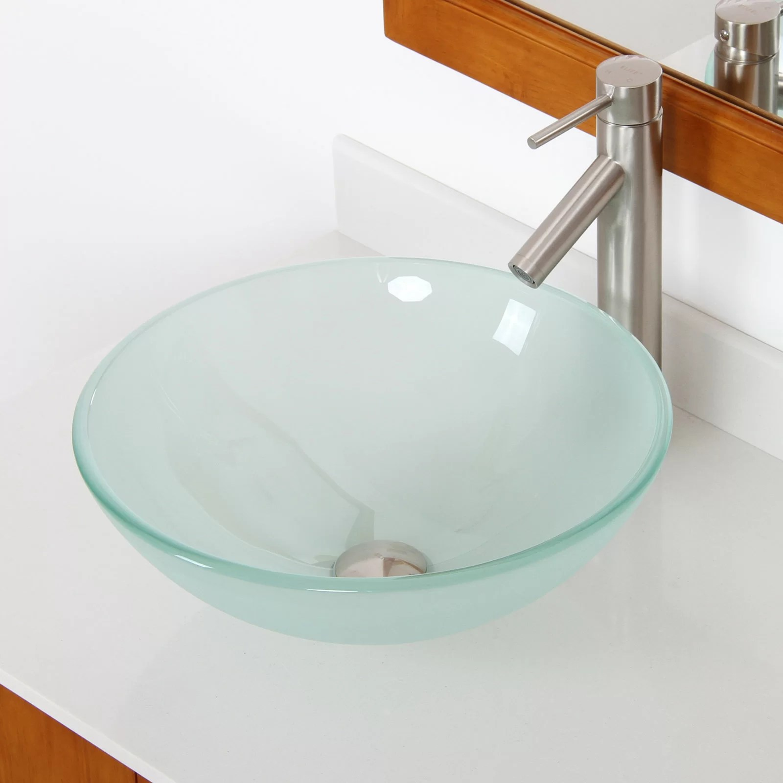 Glass Bathroom Bowls Elite Double Layered Tempered Glass Round Bowl Vessel