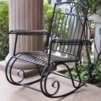 Three Posts Snowberry Iron Outdoor Porch Rocking Chair ...