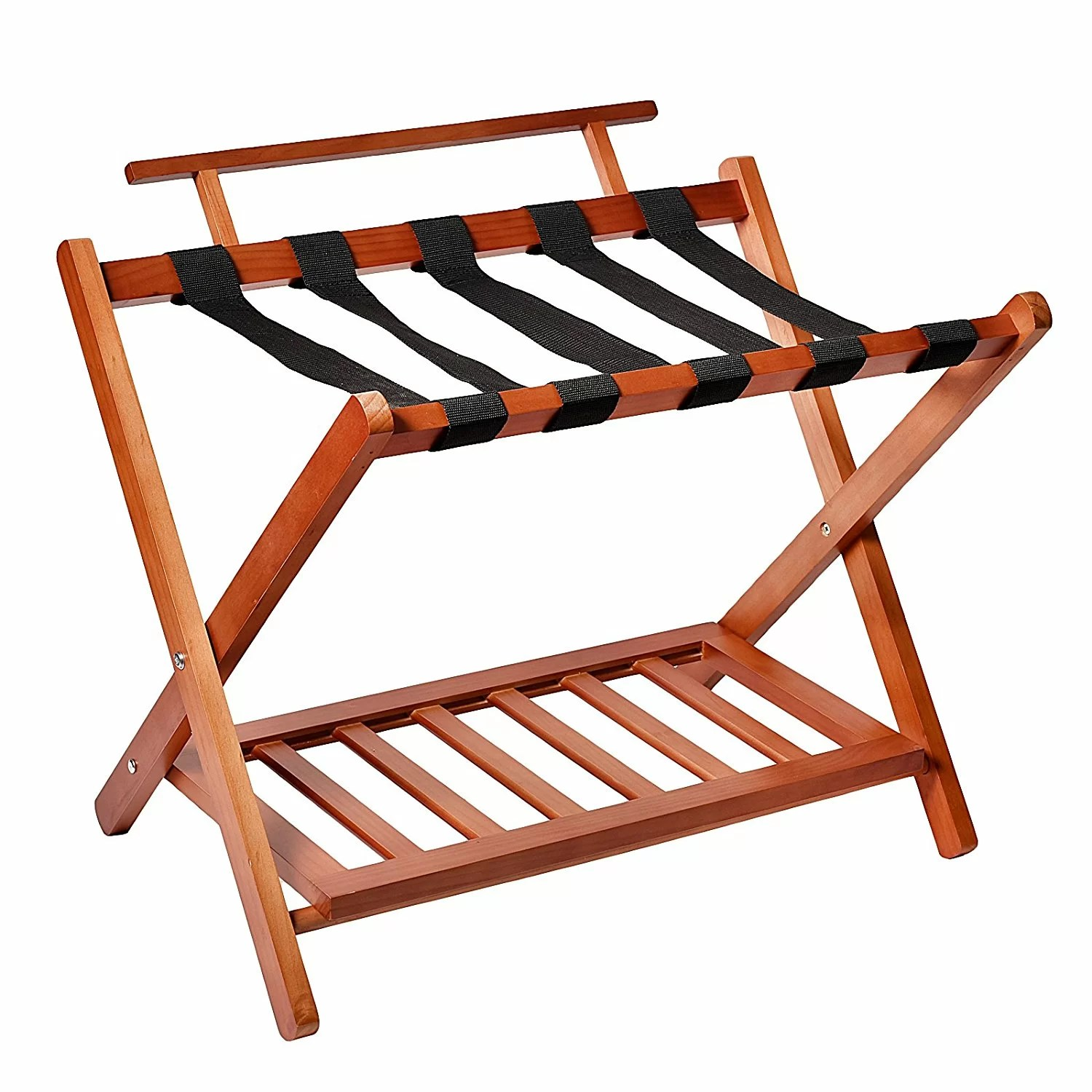 Welland Industries Llc Wood High Back Folding Luggage Rack