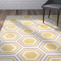 Mercury Row Cassiopeia Ivory / Yellow Area Rug & Reviews ...