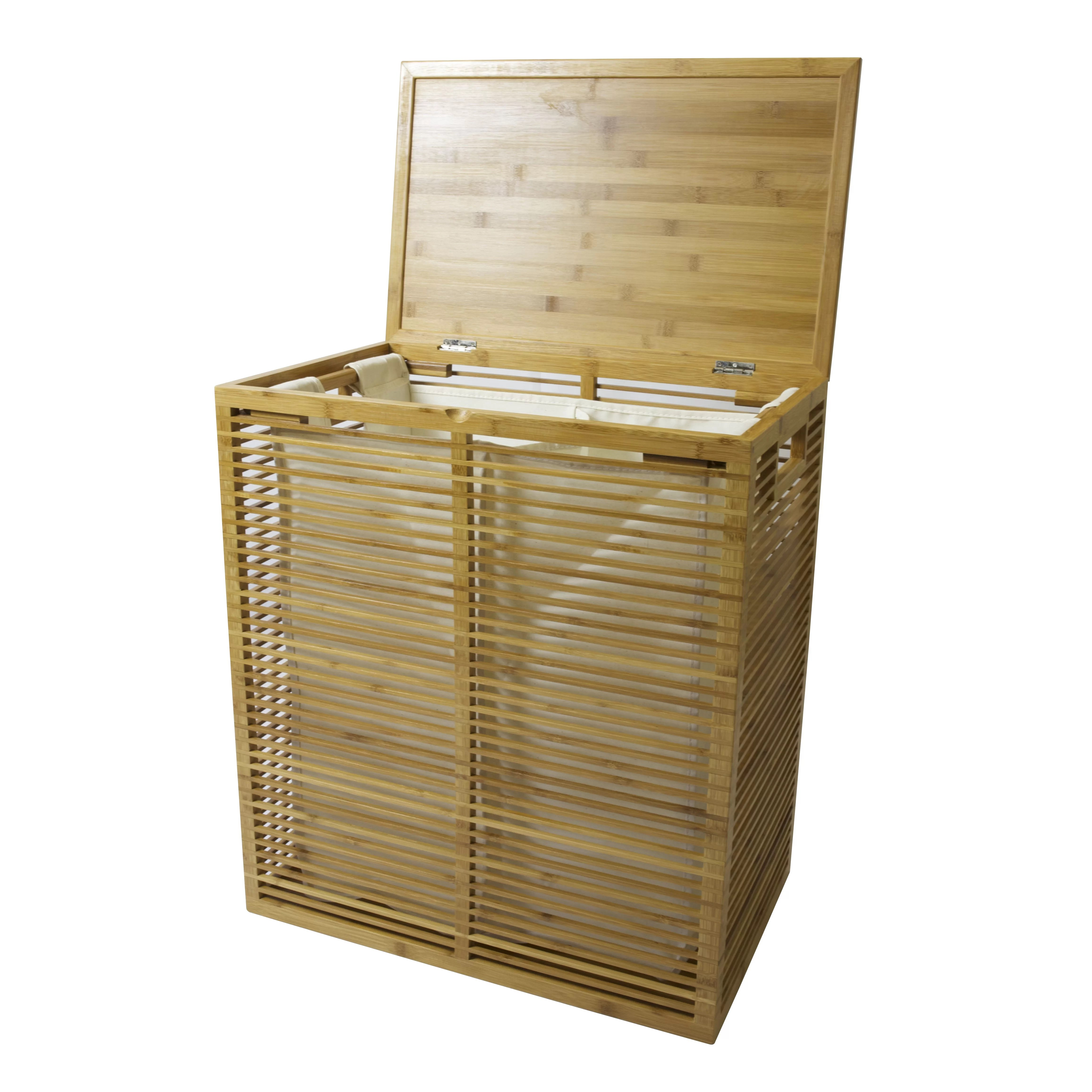 Hamper With Liner Inthispace Open Slats Bamboo Hamper Plus Lid With