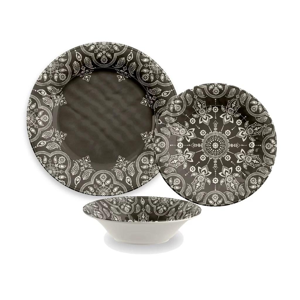 TarHong India Stamp 16 Piece Melamine Dinnerware Set