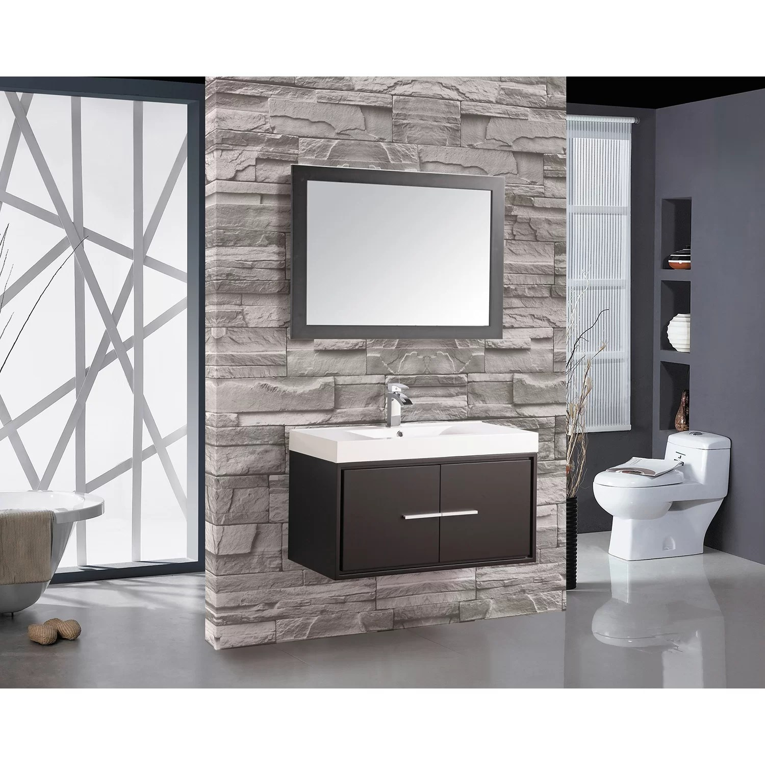 30 Floating Bathroom Vanity Mtdvanities Cypress 36 Quot Single Floating Bathroom Vanity