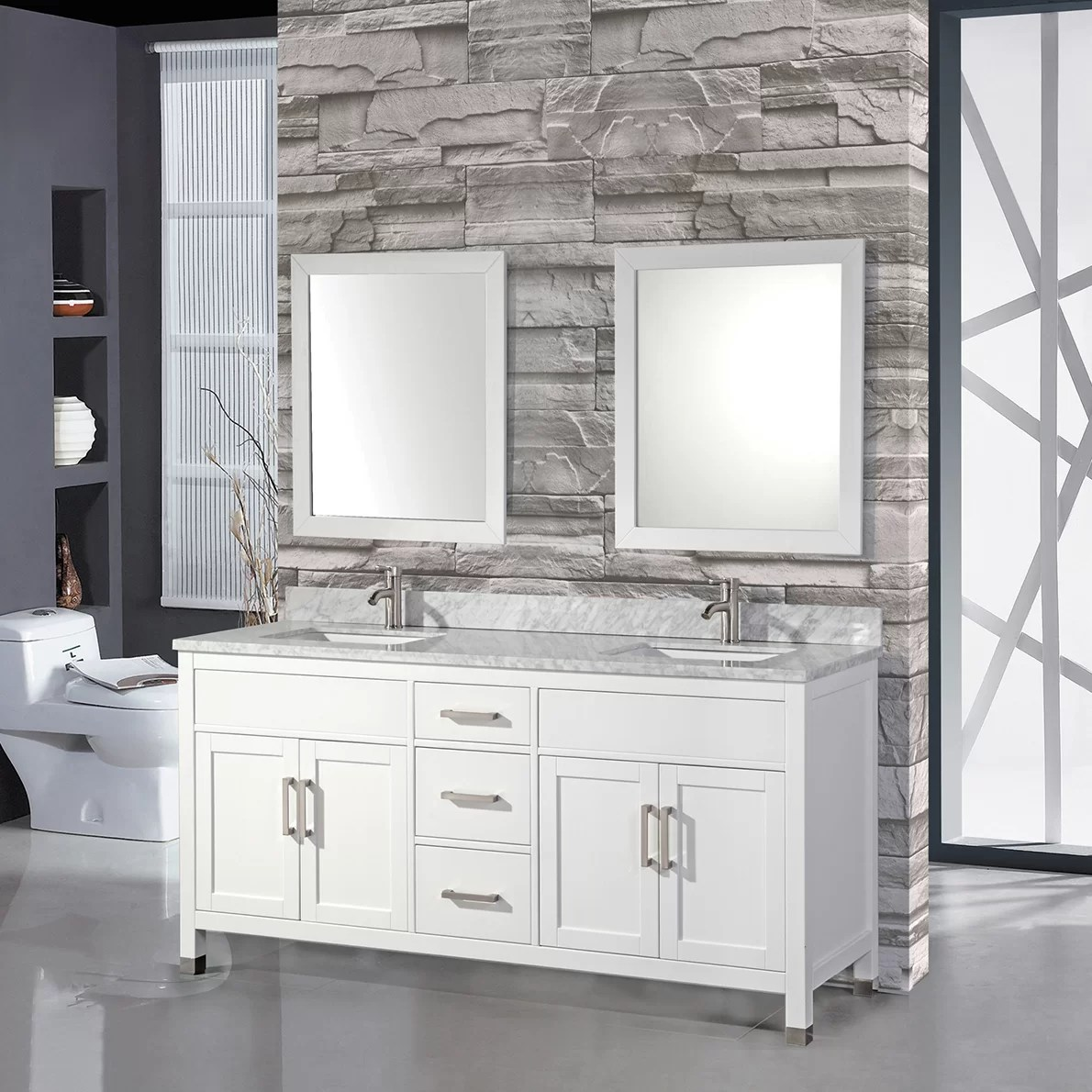 Mtdvanities Ricca 84quot Double Sink Bathroom Vanity Set With