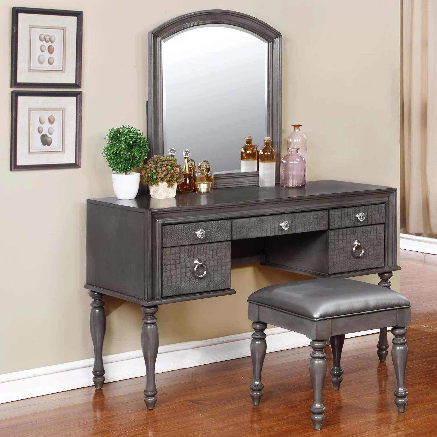 Vanity Mirrors Avalon Furniture Glam Style Vanity Set With Mirror