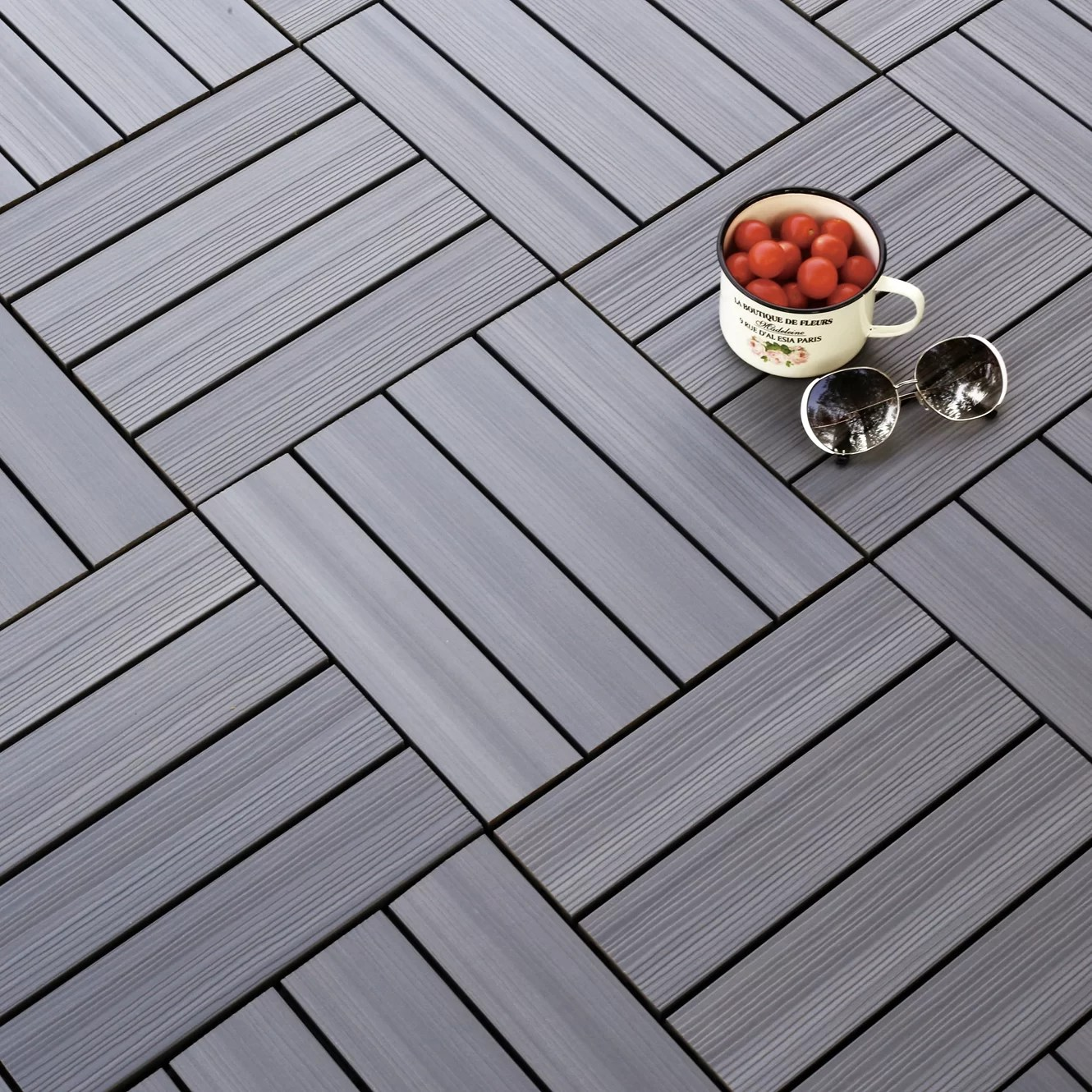 Composite Deck Tiles Newtechwood Ultrashield Westminster Wood 12 Quot X 12 Quot Outdoor