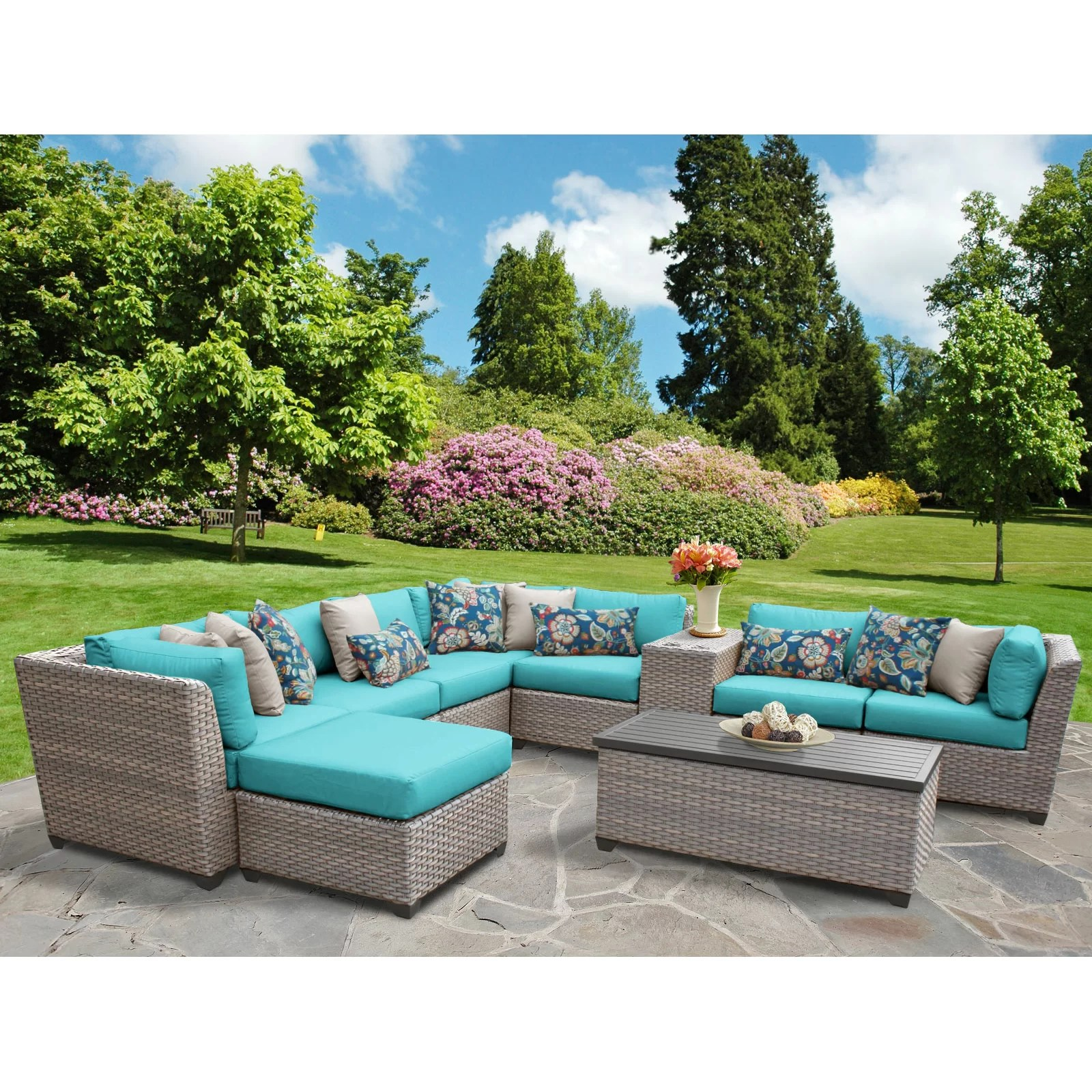 Florence 8 Piece Rattan Sofa Set With Cushions Tk Classics Florence Outdoor Wicker Patio 10 Piece Deep