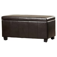 Alcott Hill Hampshire Leather Storage Ottoman & Reviews ...