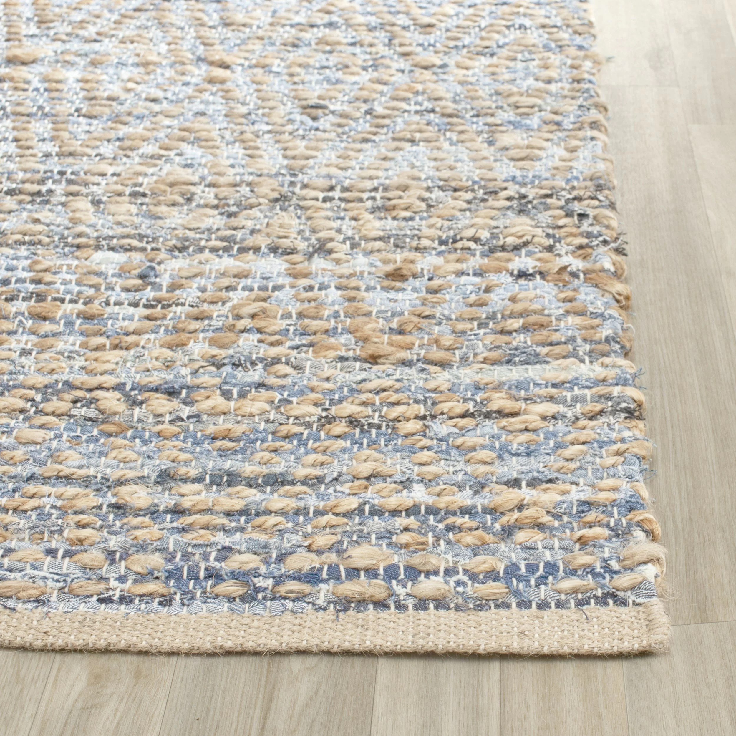 Woven Rugs Beachcrest Home Palm Coast Hand Woven Natural Blue Area