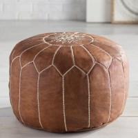 Bungalow Rose Soukaina Leather Pouf Ottoman & Reviews ...