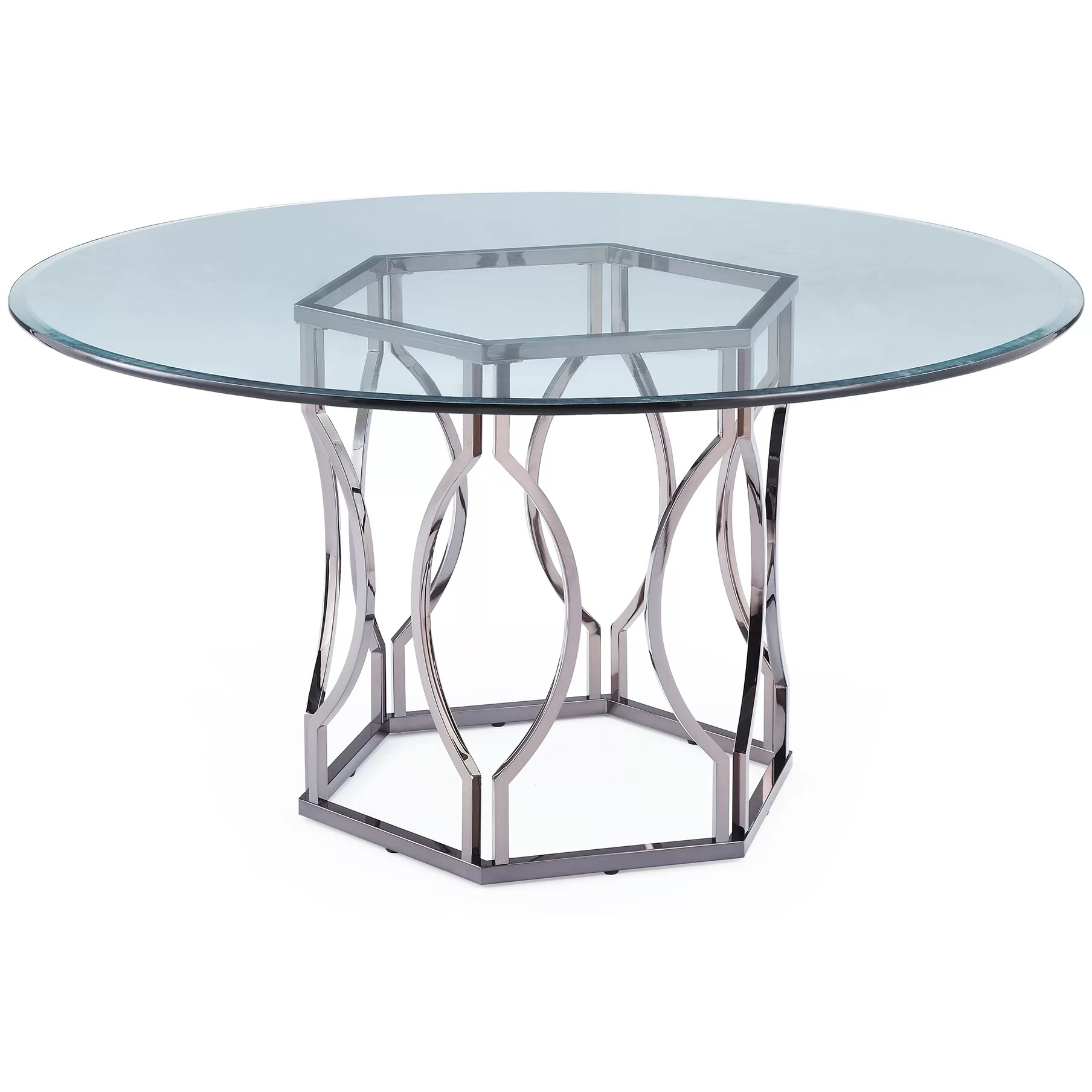 Table Glasses Mercer41 Viggo Round Glass Dining Table And Reviews Wayfair