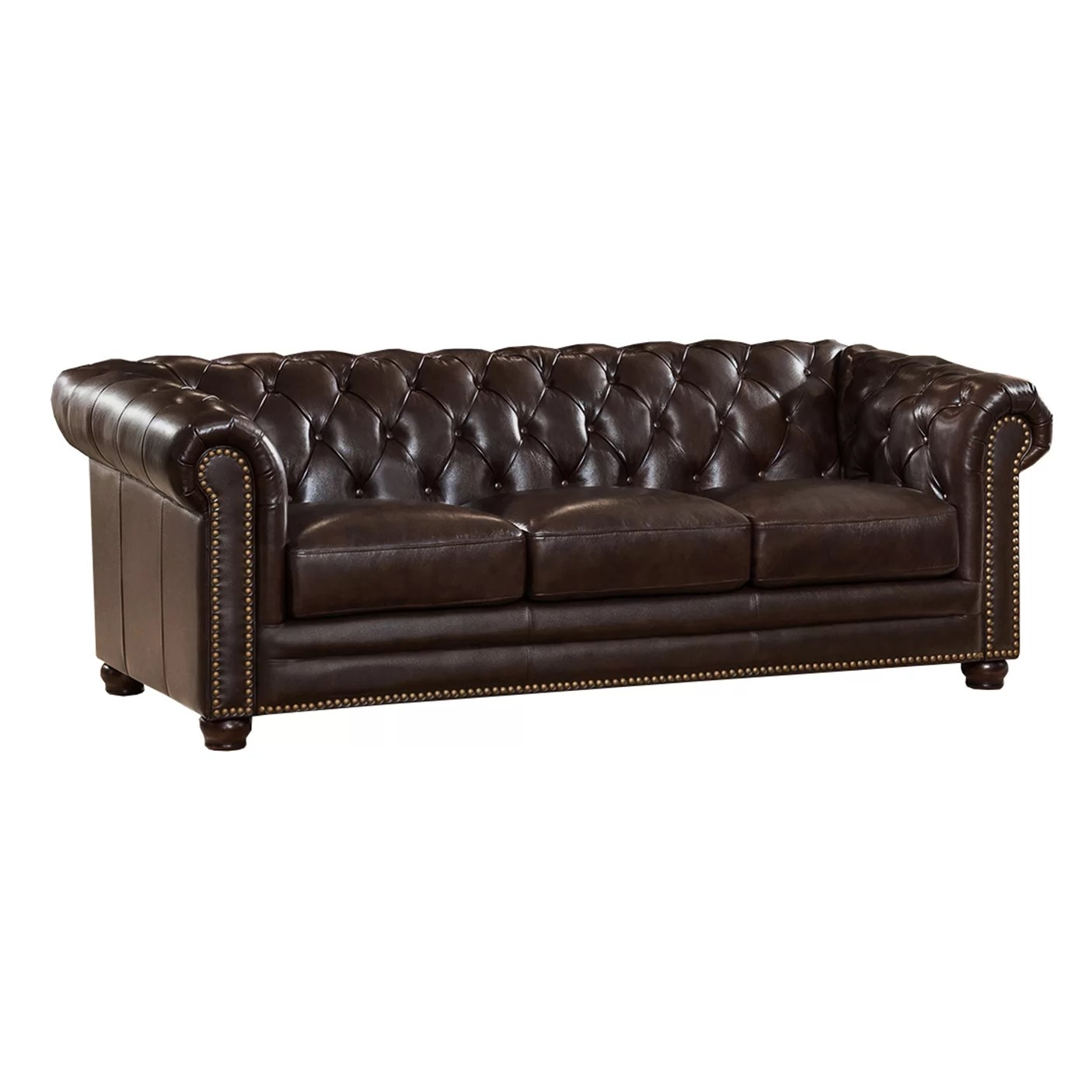 Chesterfield Sofa Amax Kensington Top Grain Leather Chesterfield Sofa And