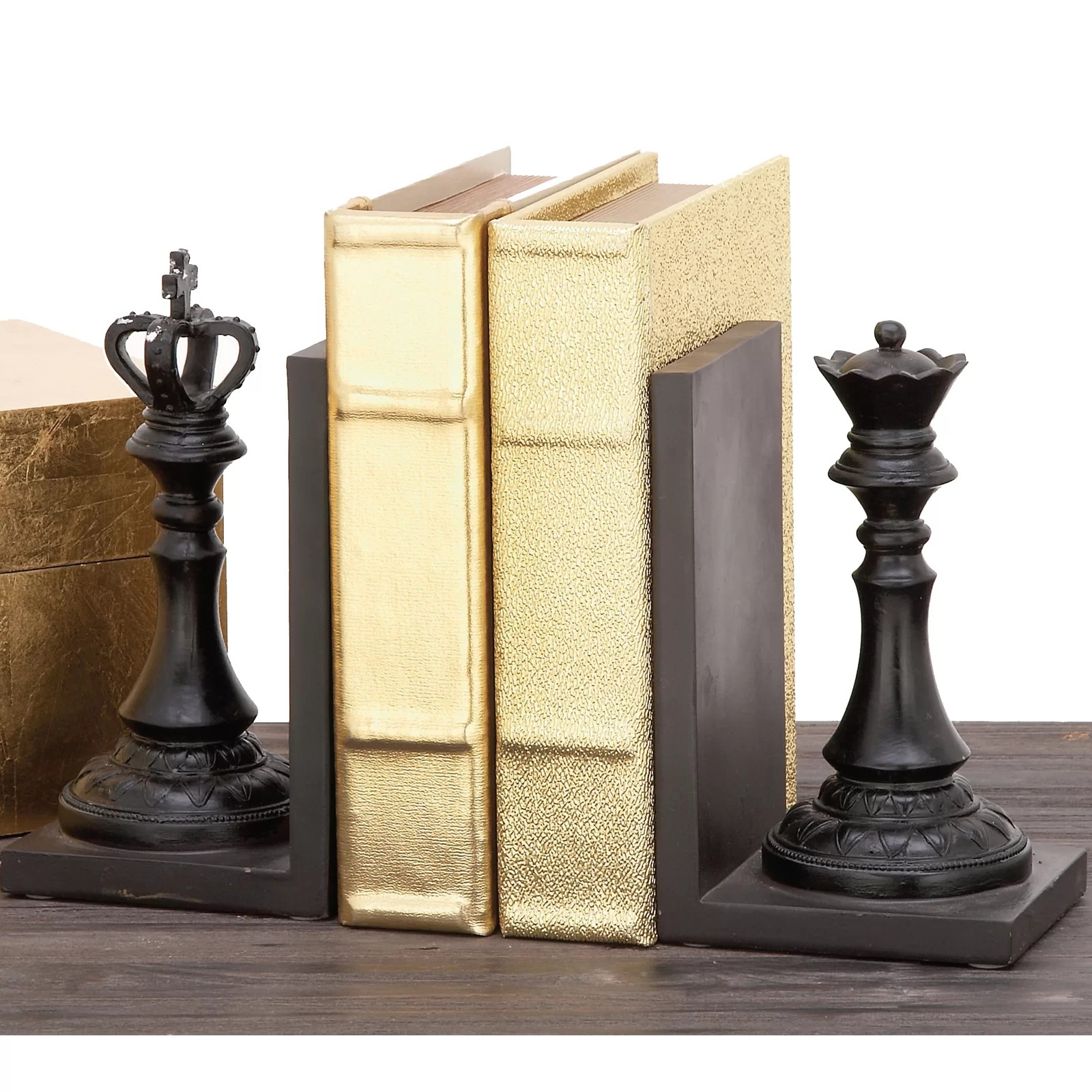 Chess Decor Urban Designs Decorative Chess King And Queen Book Ends