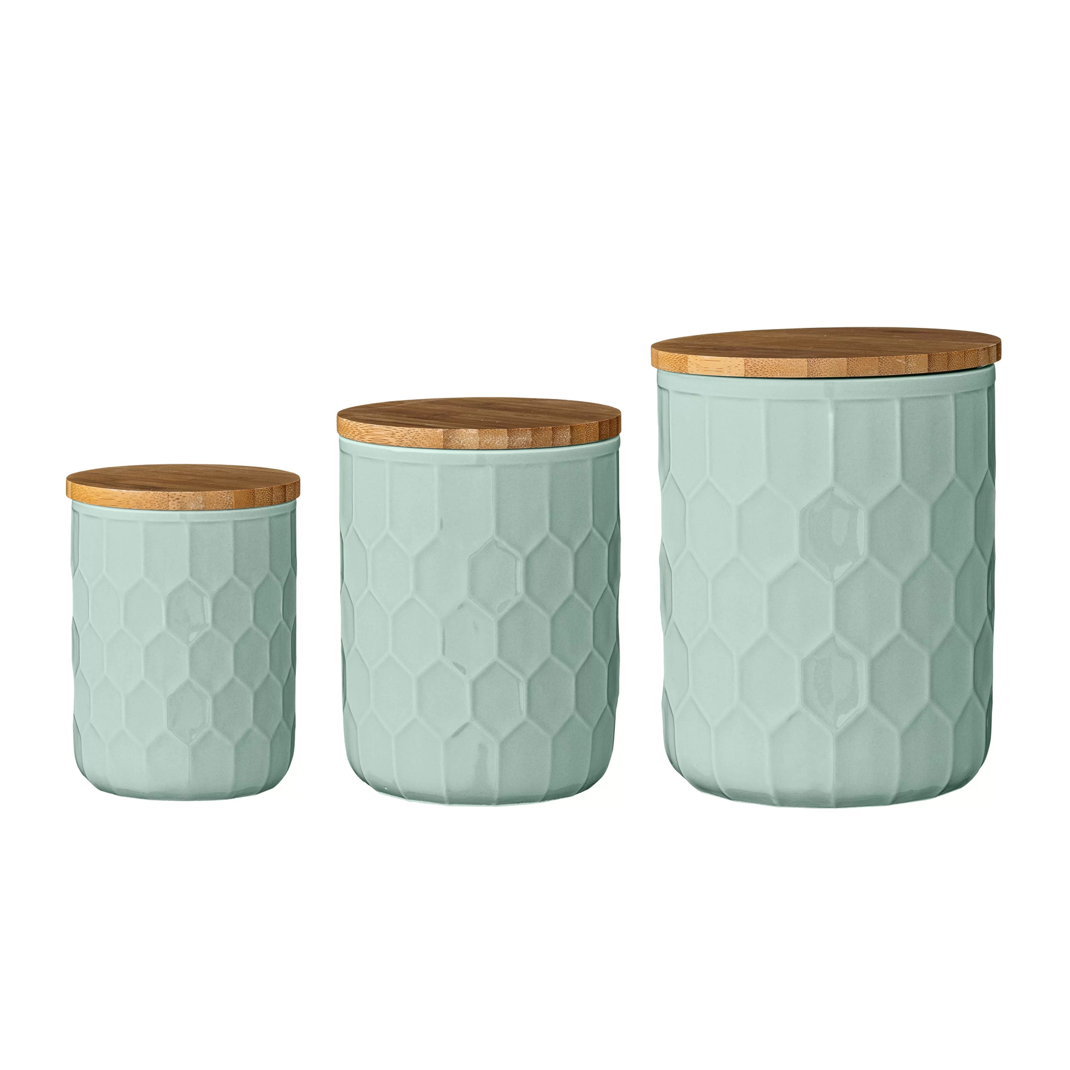 Small Ceramic Jars With Lids Mint Pantry 3 Piece Ceramic Jar With Bamboo Lid Set