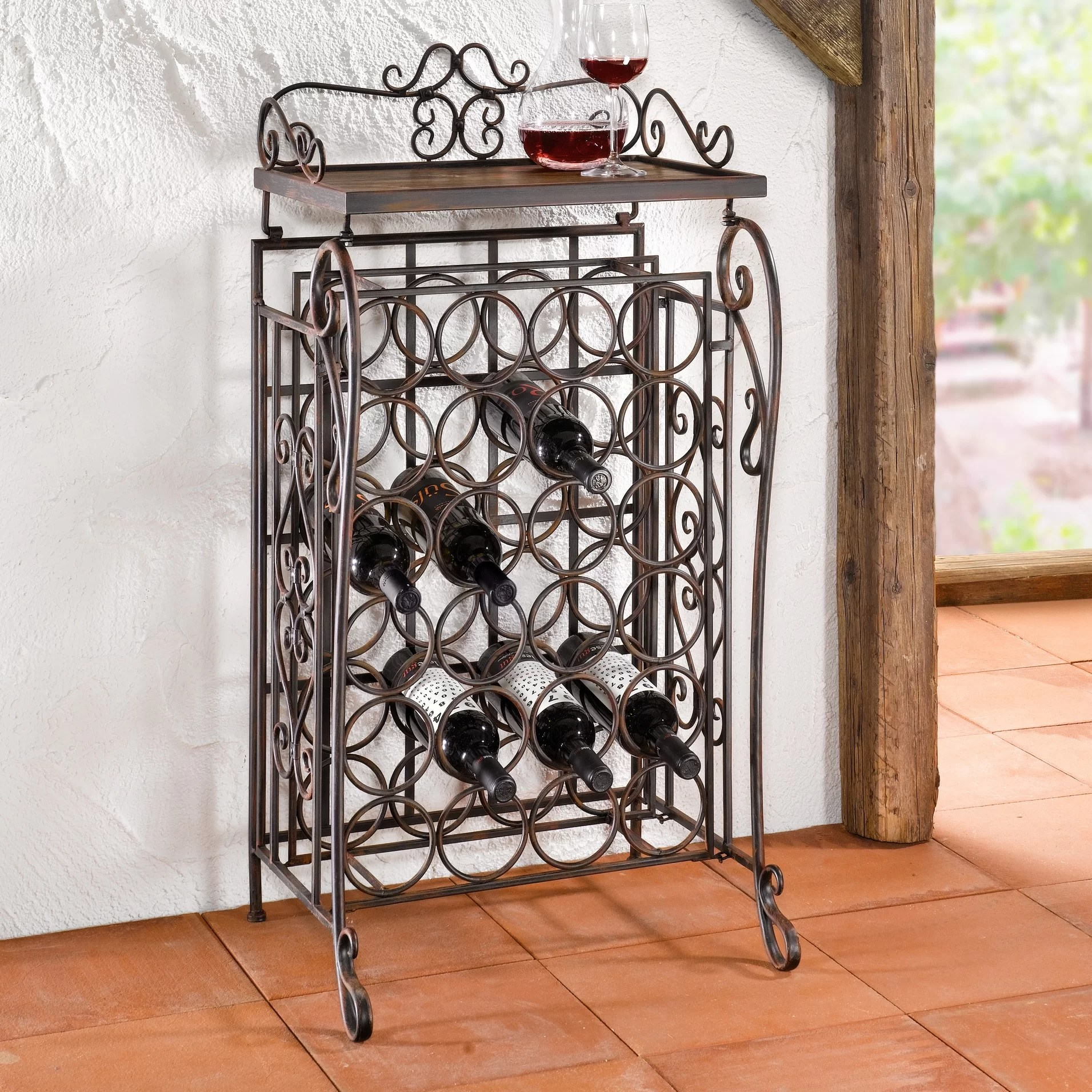 In Floor Wine Storage Piersurplus 24 Bottles Floor Wine Rack And Reviews Wayfair