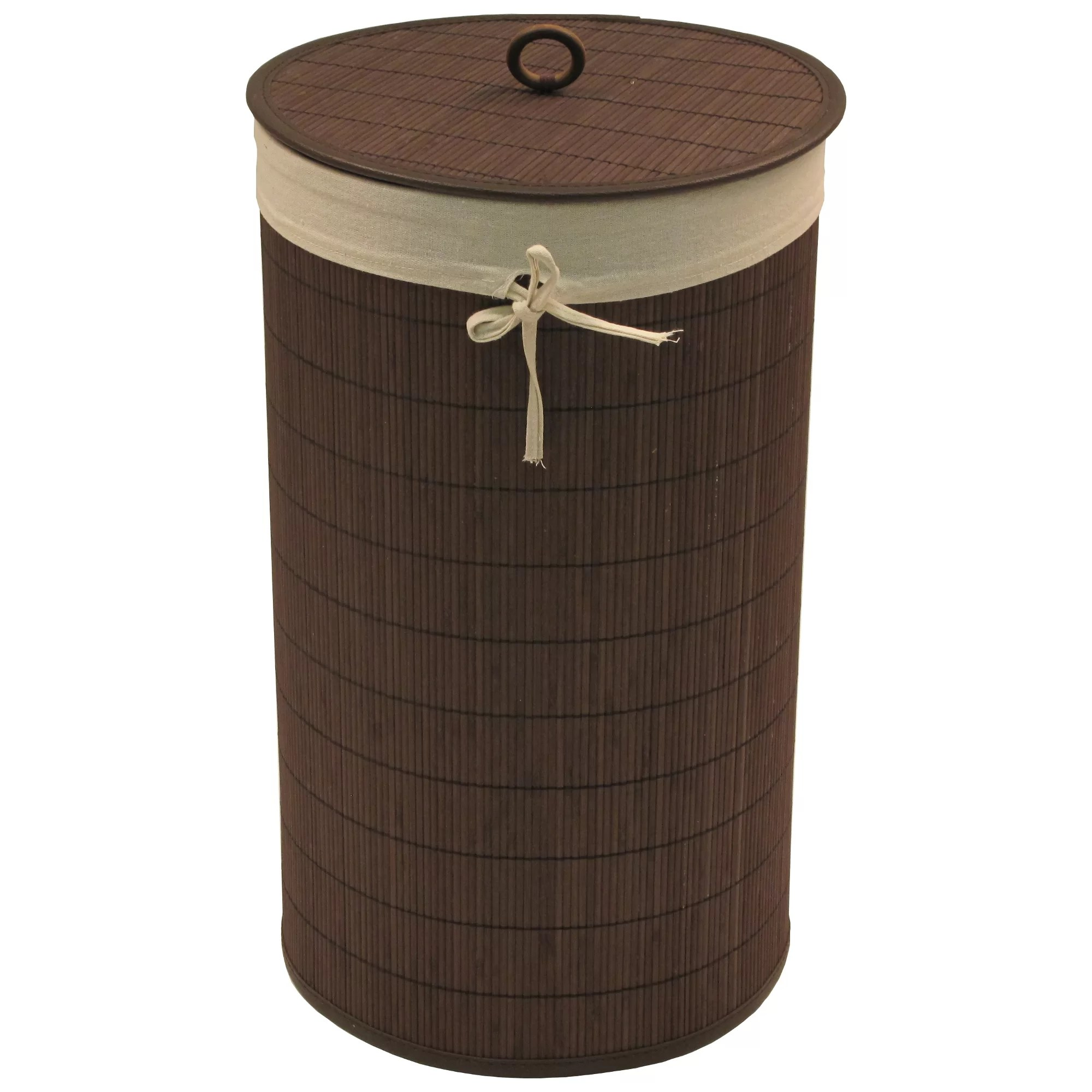 Hamper With Liner Redmon Round Bamboo Hamper With Liner And Reviews Wayfair