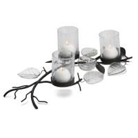 Mikasa Glass Leaf Pillar Candle Holder & Reviews | Wayfair