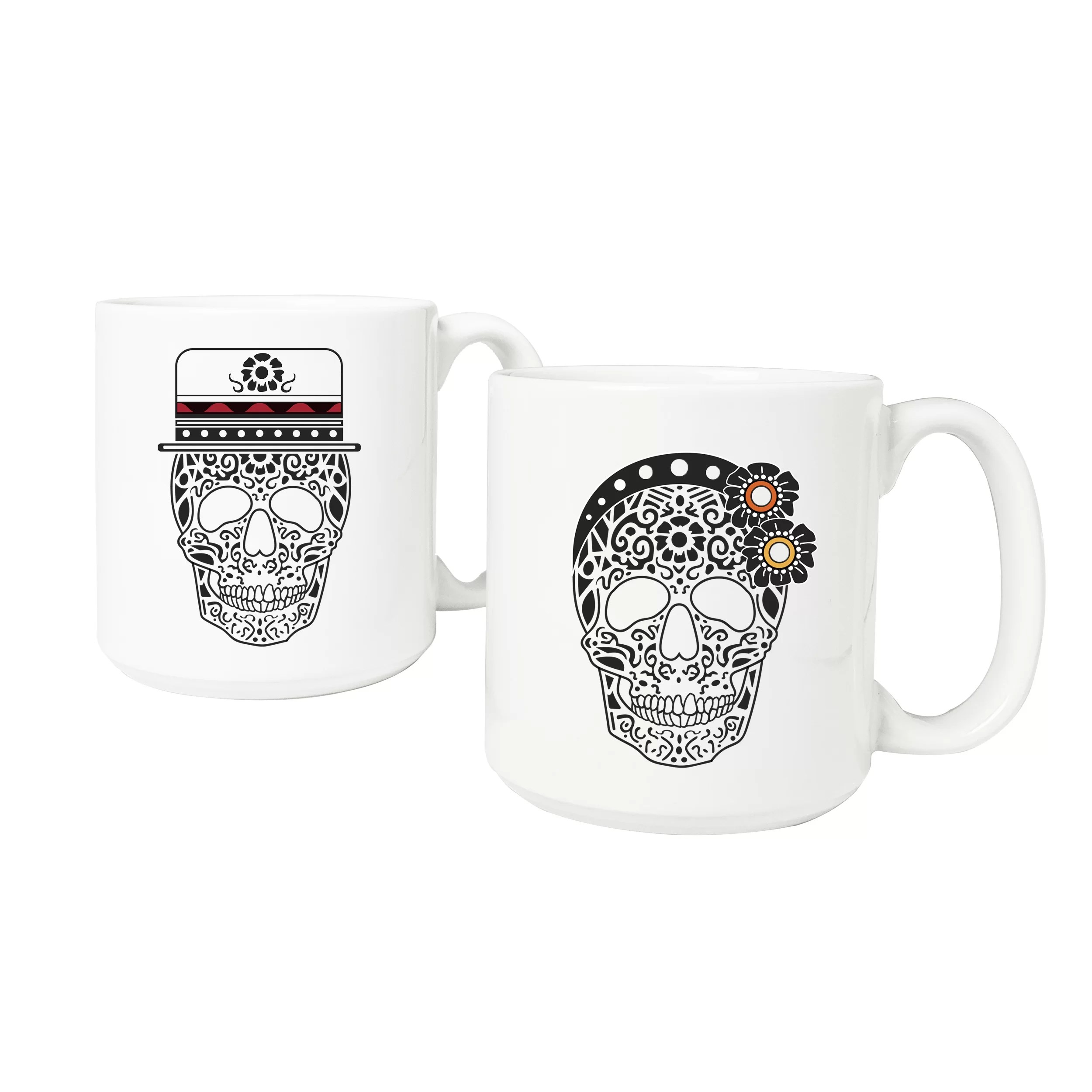 Tall Coffee Mug Sets Cathys Concepts His And Hers Sugar Skull Large 2 Piece