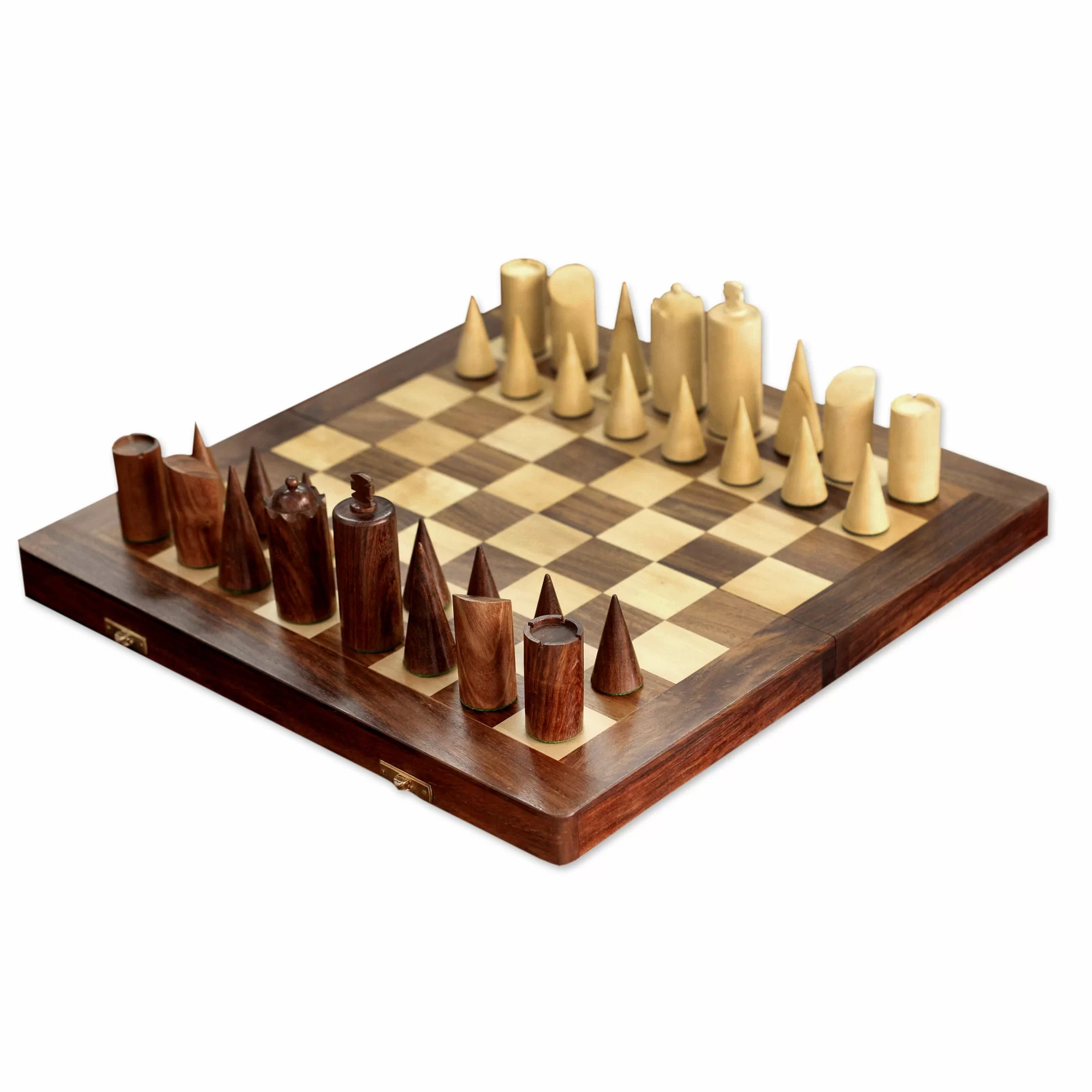 Fancy Chess Set Novica Khyali Ram Decorative Hand Carved Wood Chess Set