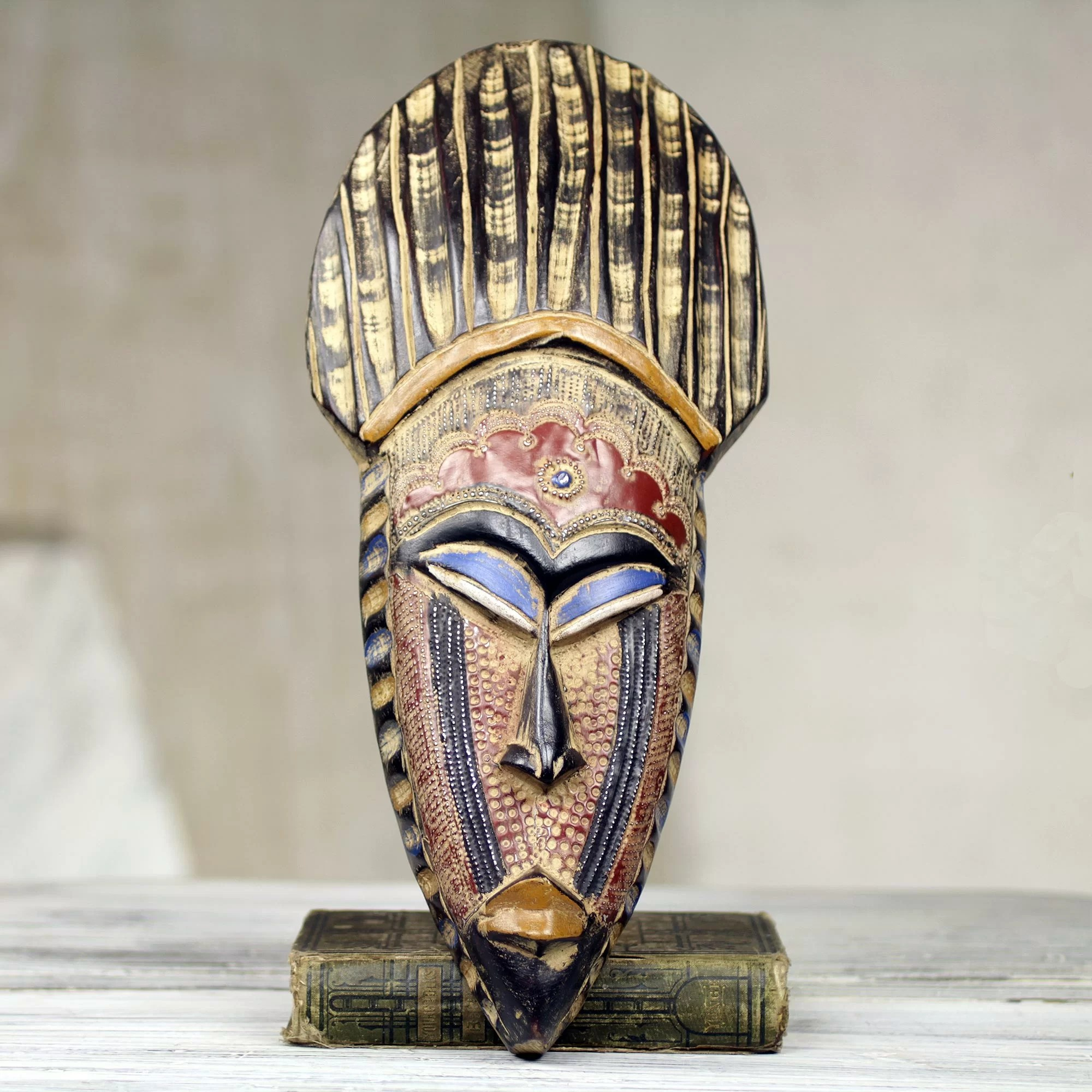 African Wooden Wall Art Novica Saeed Musah Hand Crafted West African Wood Mask