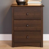 Prepac Fremont Tall Espresso 3 Drawer Nightstand & Reviews