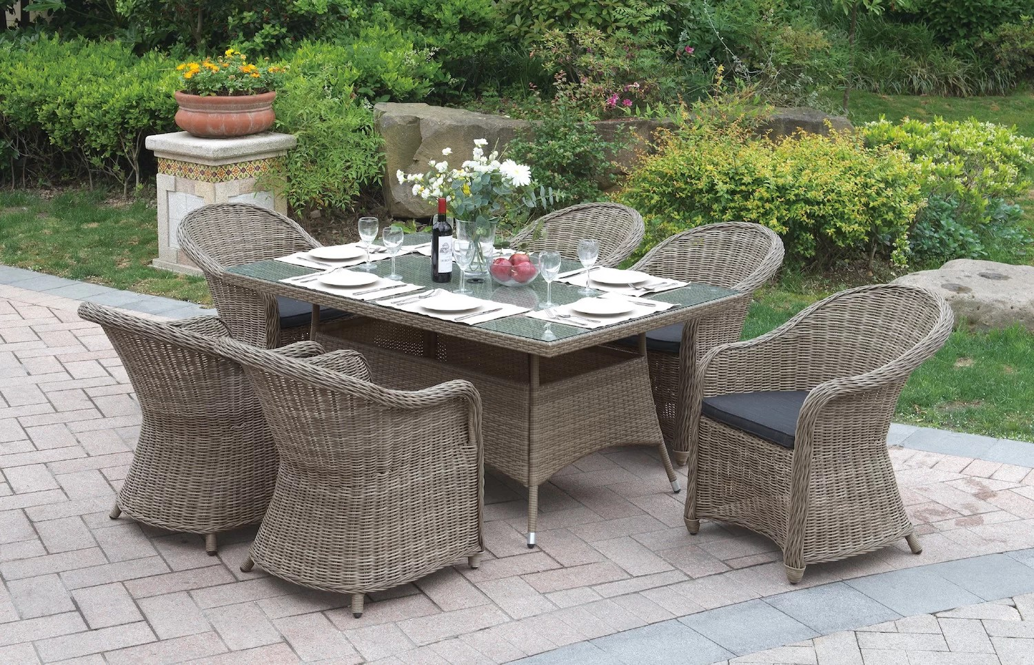 7 Piece Patio Set 7 Piece Dining Set With Cushions
