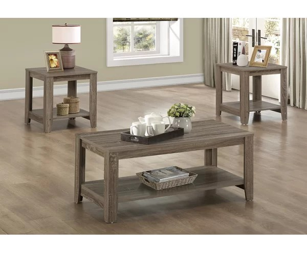 Loon Peak Jalen 3 Piece Coffee Table Set \ Reviews Wayfair - 3 piece living room table set