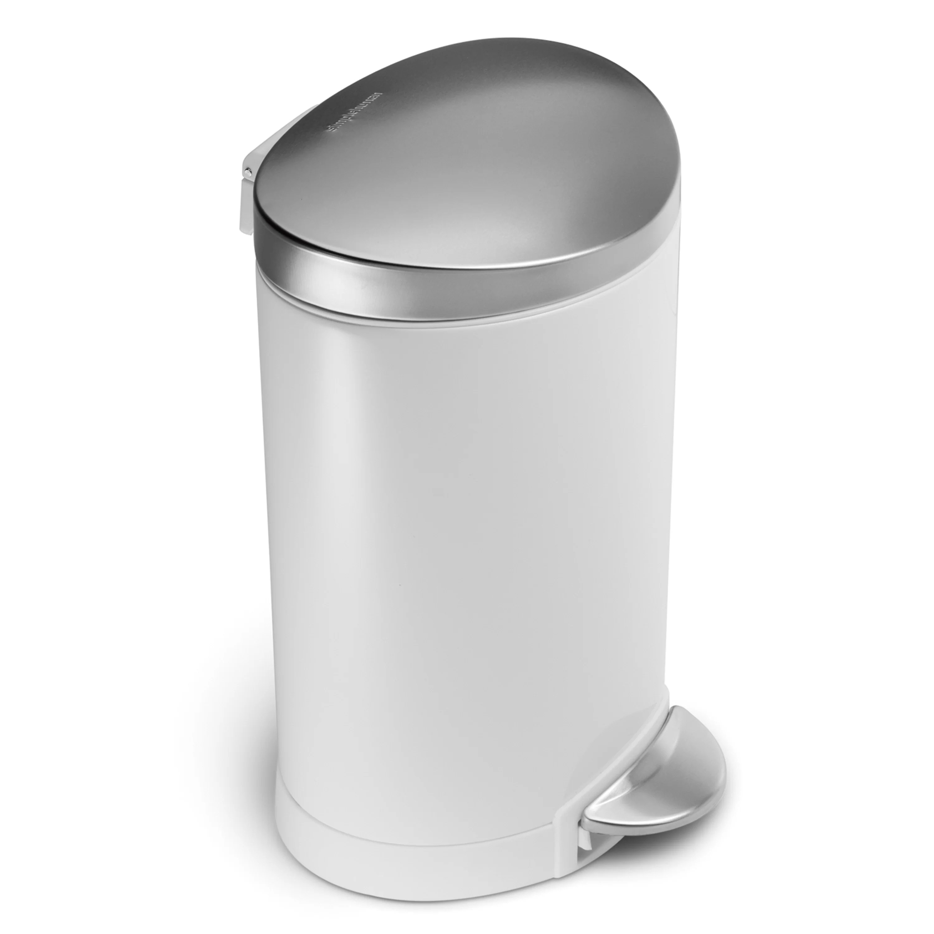 Mini Plastic Trash Can With Lid Simplehuman 1 6 Gallon Semi Round Step Trash Can White Steel With