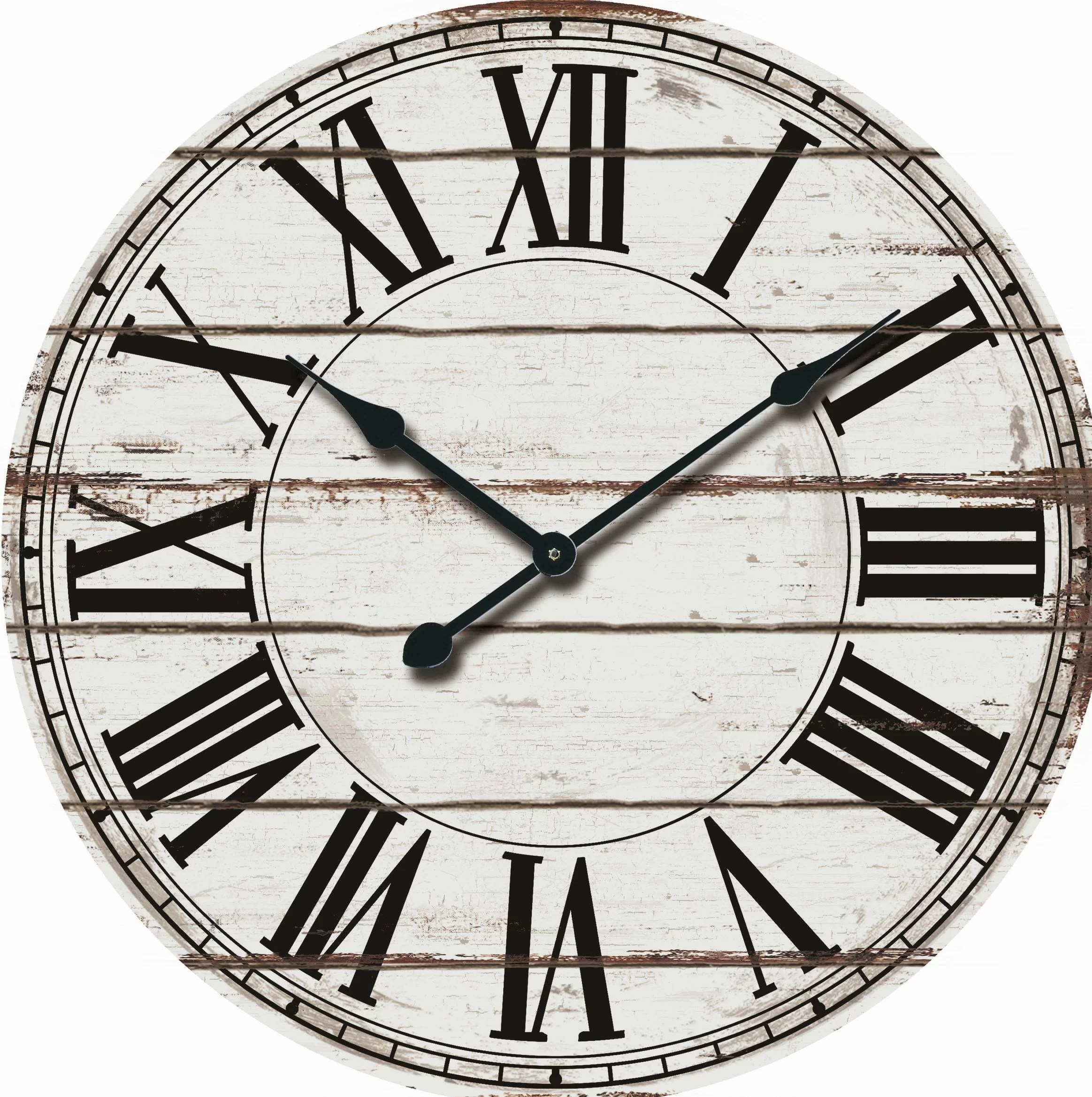 & Wall Clock Oversized Rustic Wood 24