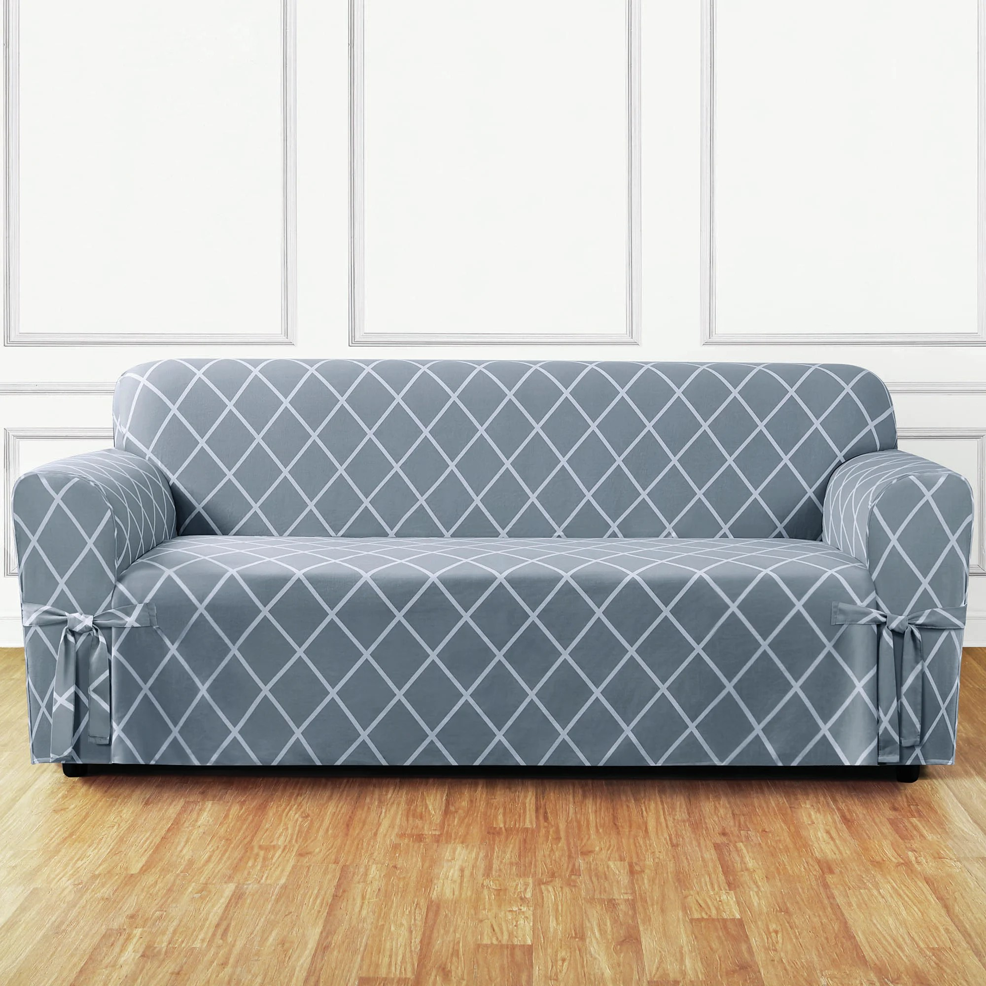 Grey Sofa Slipcover Lattice Box Cushion Sofa Slipcover