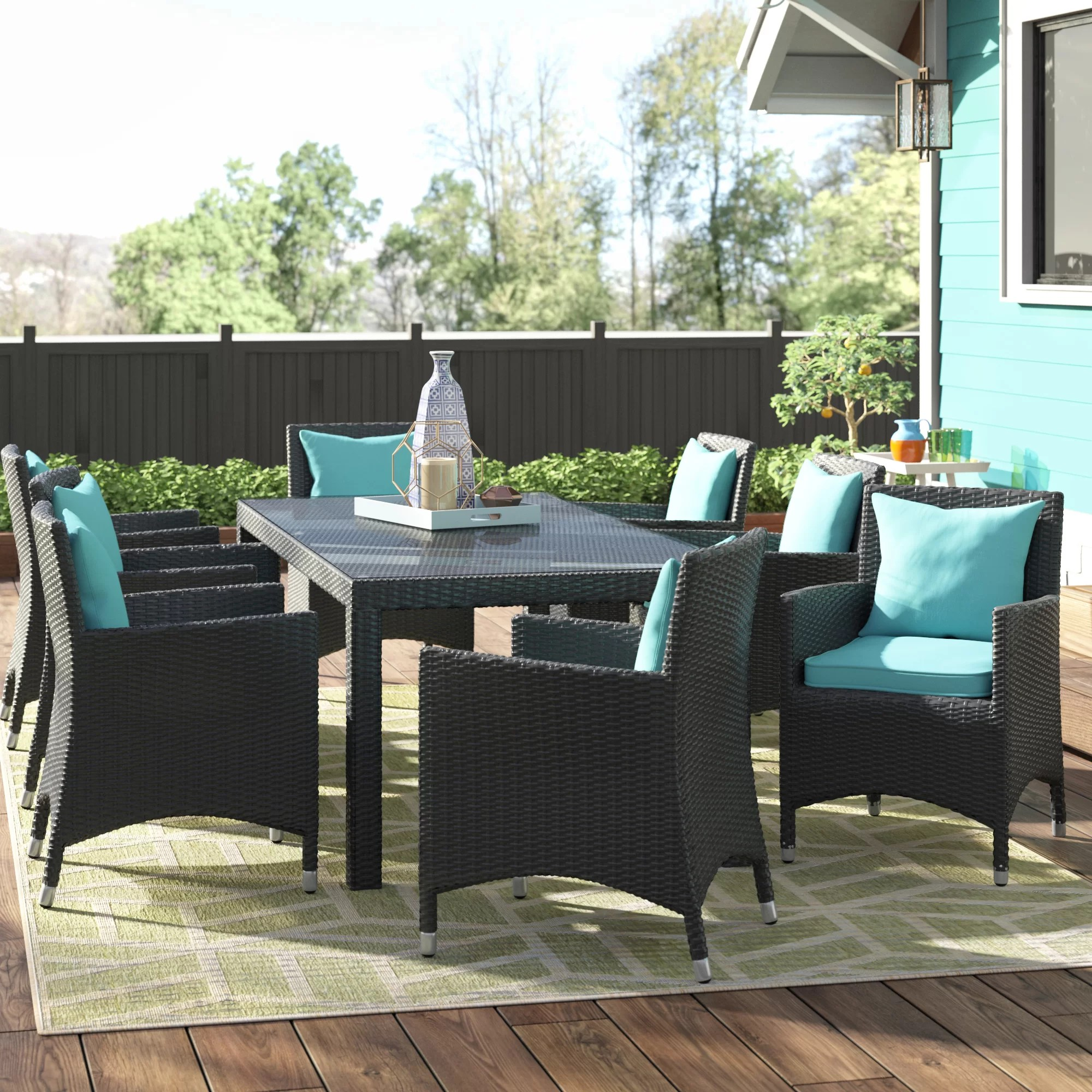 9 Piece Outdoor Dining Set Ryele 9 Piece Outdoor Patio Dining Set With Cushions
