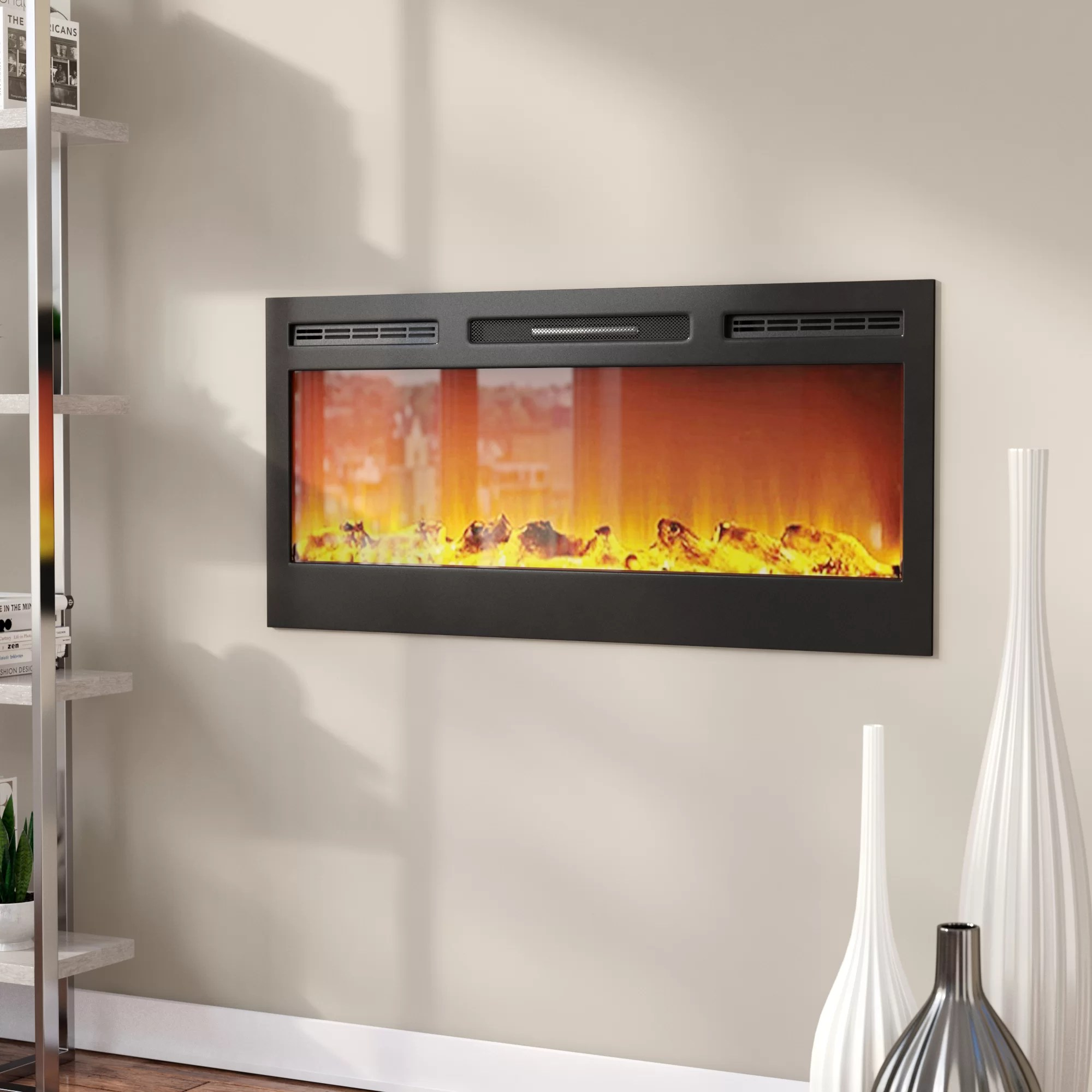 Living Room Electric Fireplace Jemaine Recessed Wall Mounted Electric Fireplace
