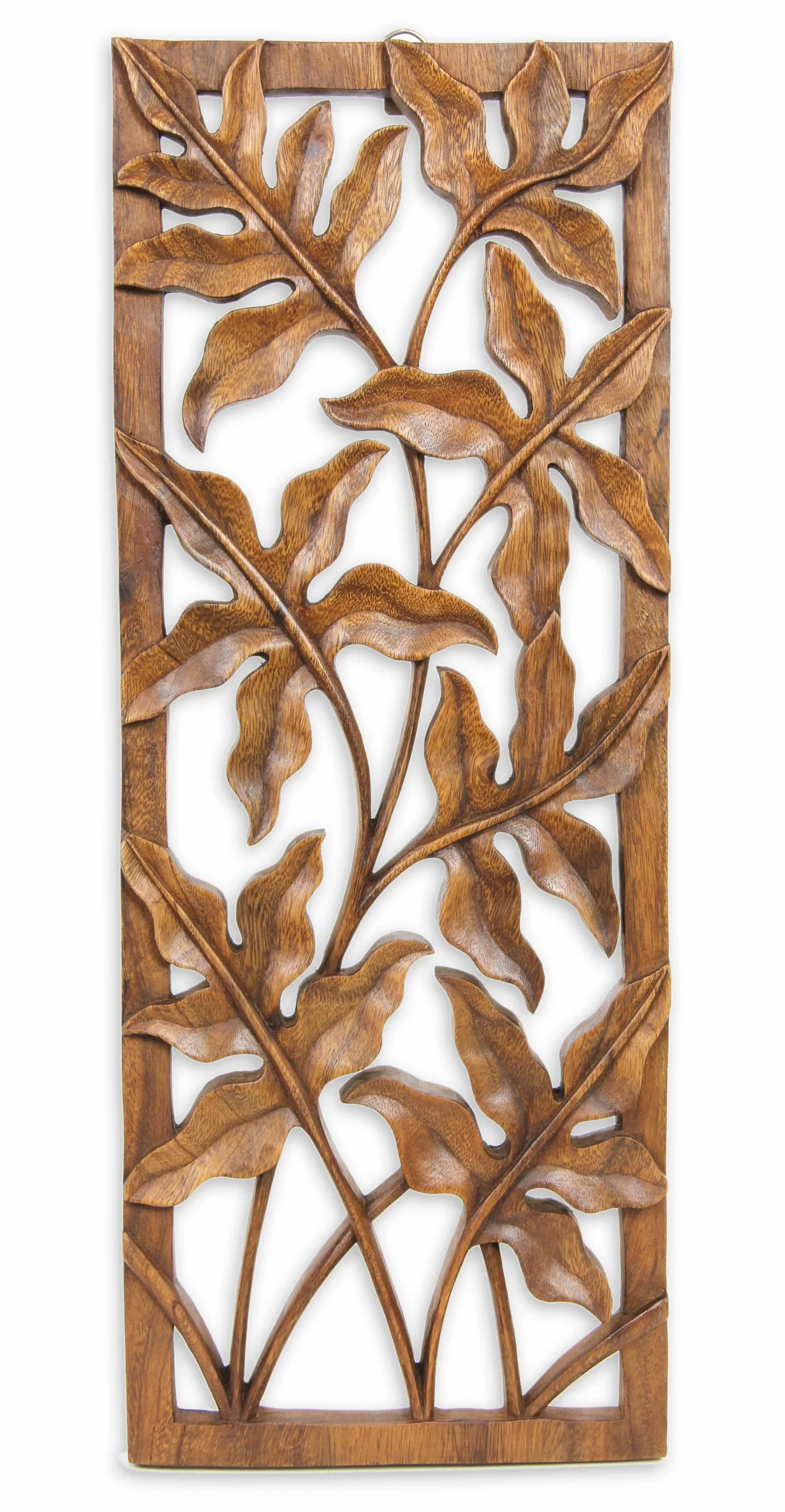 Motif Relief Novica Forest Shrubs Balinese Forest Motif Relief Panel Wall Décor