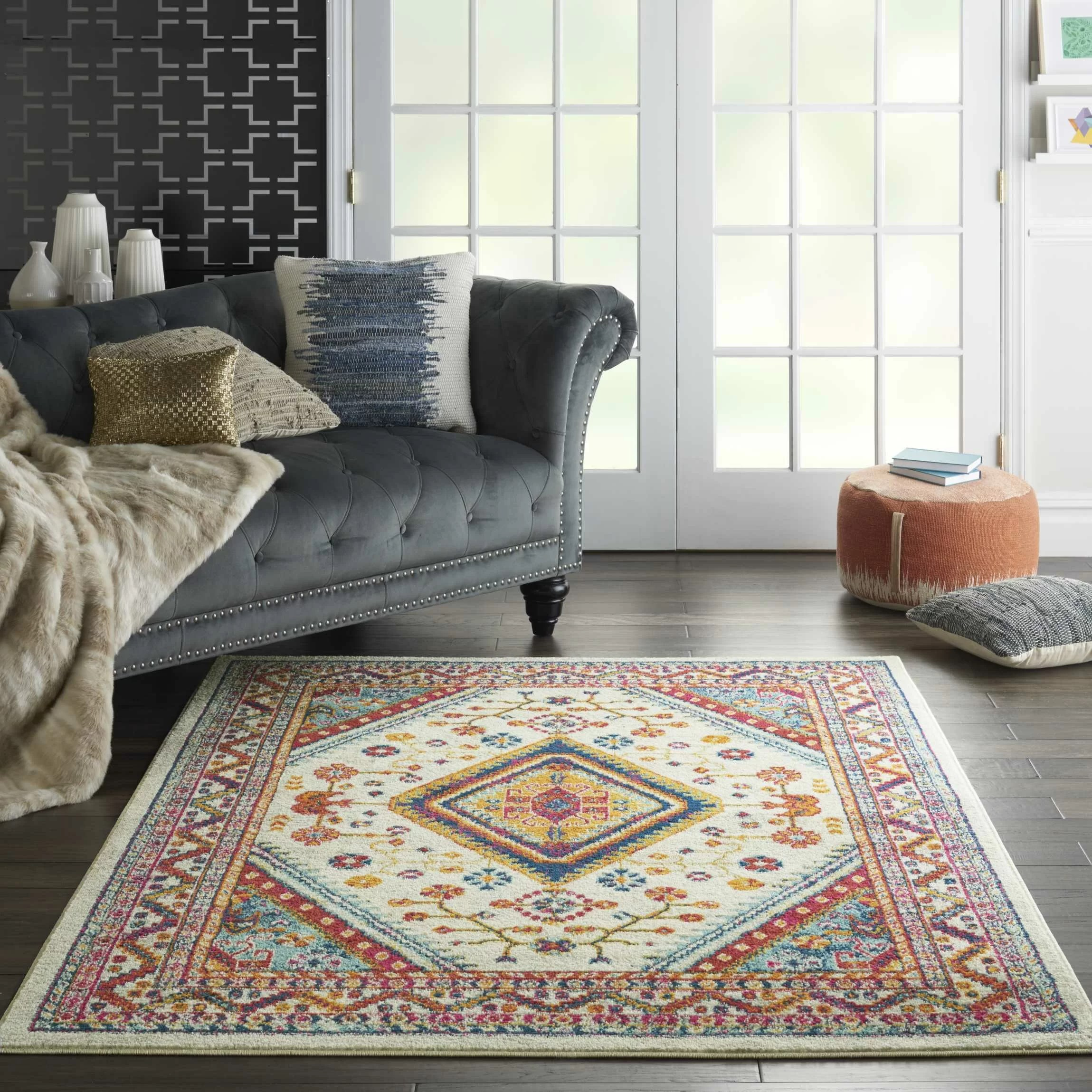 Modern Living Room Persian Rug Mallery Persian Oriental Ivory Area Rug