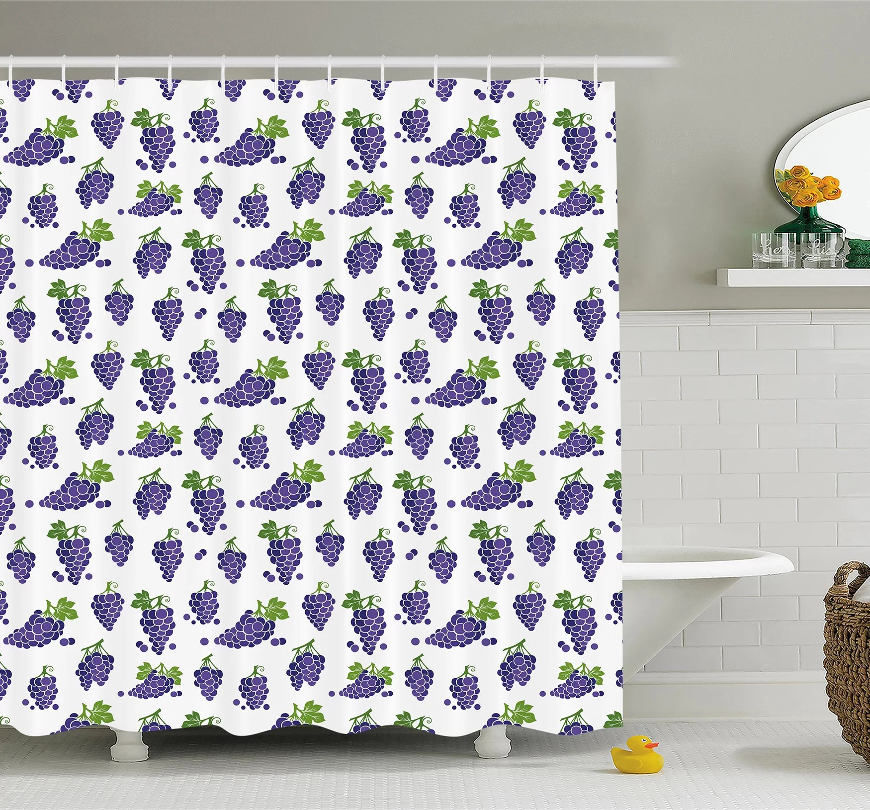 Cottage Shower Curtain Ambesonne Grapes Cute Fruit Icons Patterned Juicy Yummy Cottage