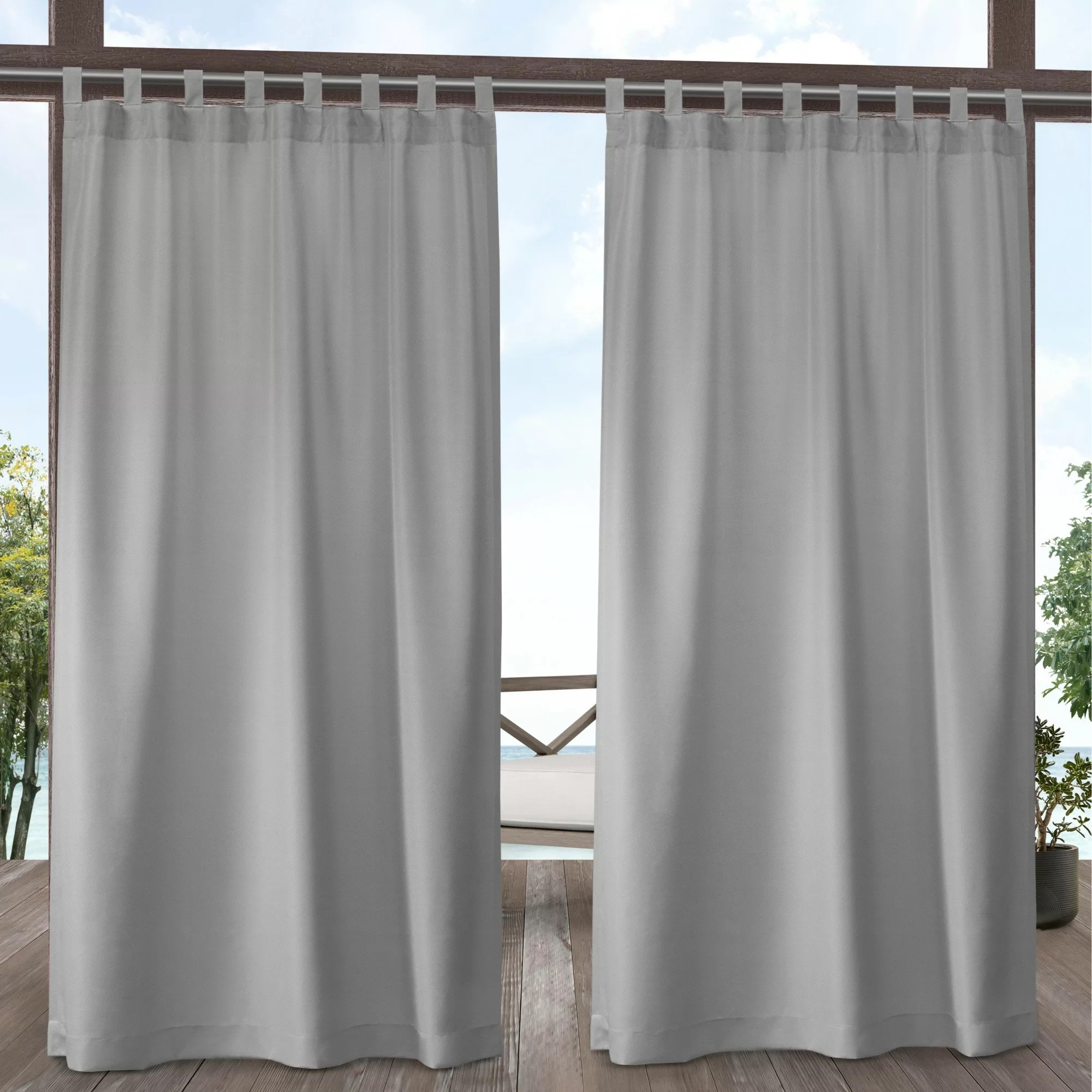 Tab Top Curtain Longview Window Solid Color Room Darkening Outdoor Tab Top Curtain Panels