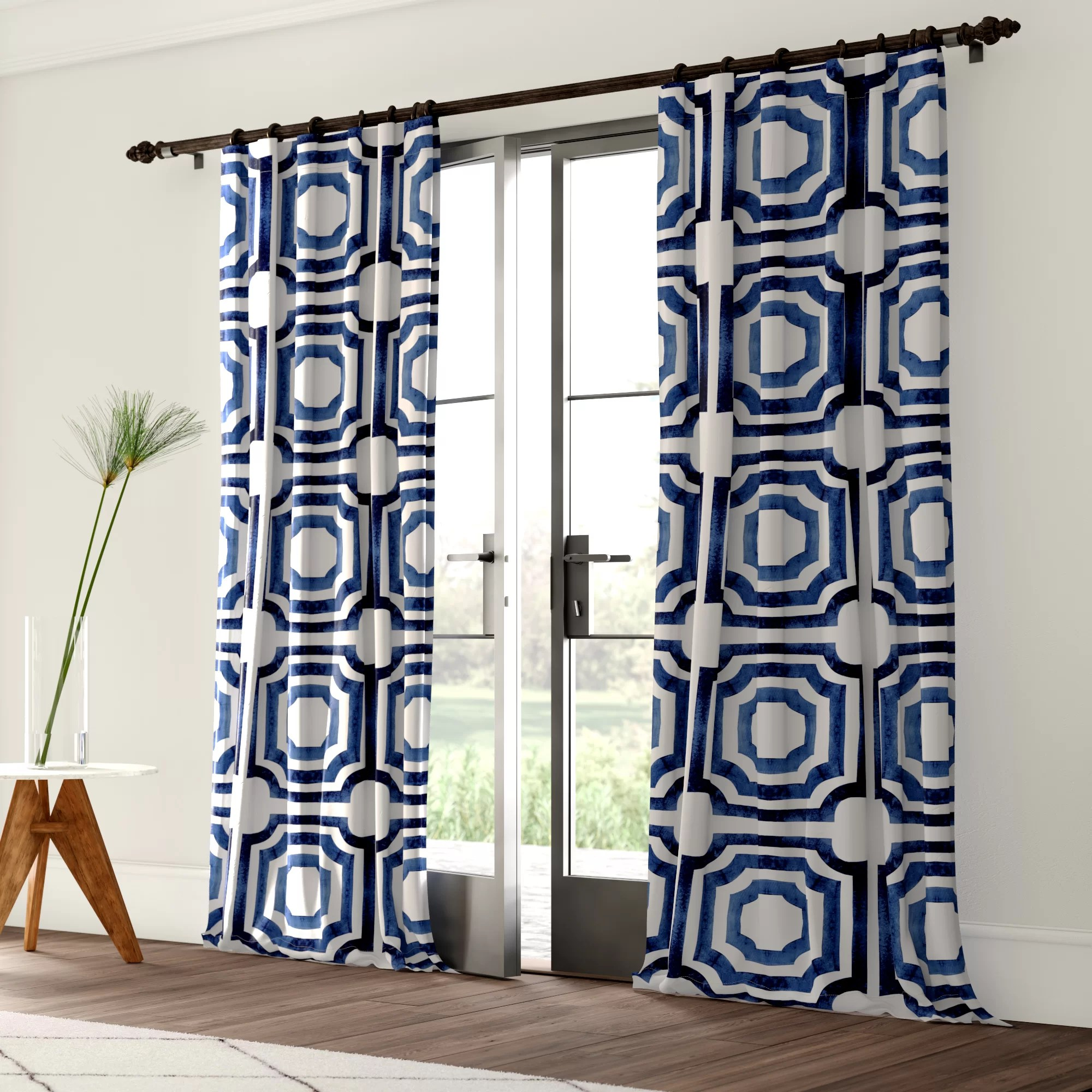 104 Inch Curtains Donato Geometric Printed Cotton Room Darkening Rod Pocket Single Curtain Panel