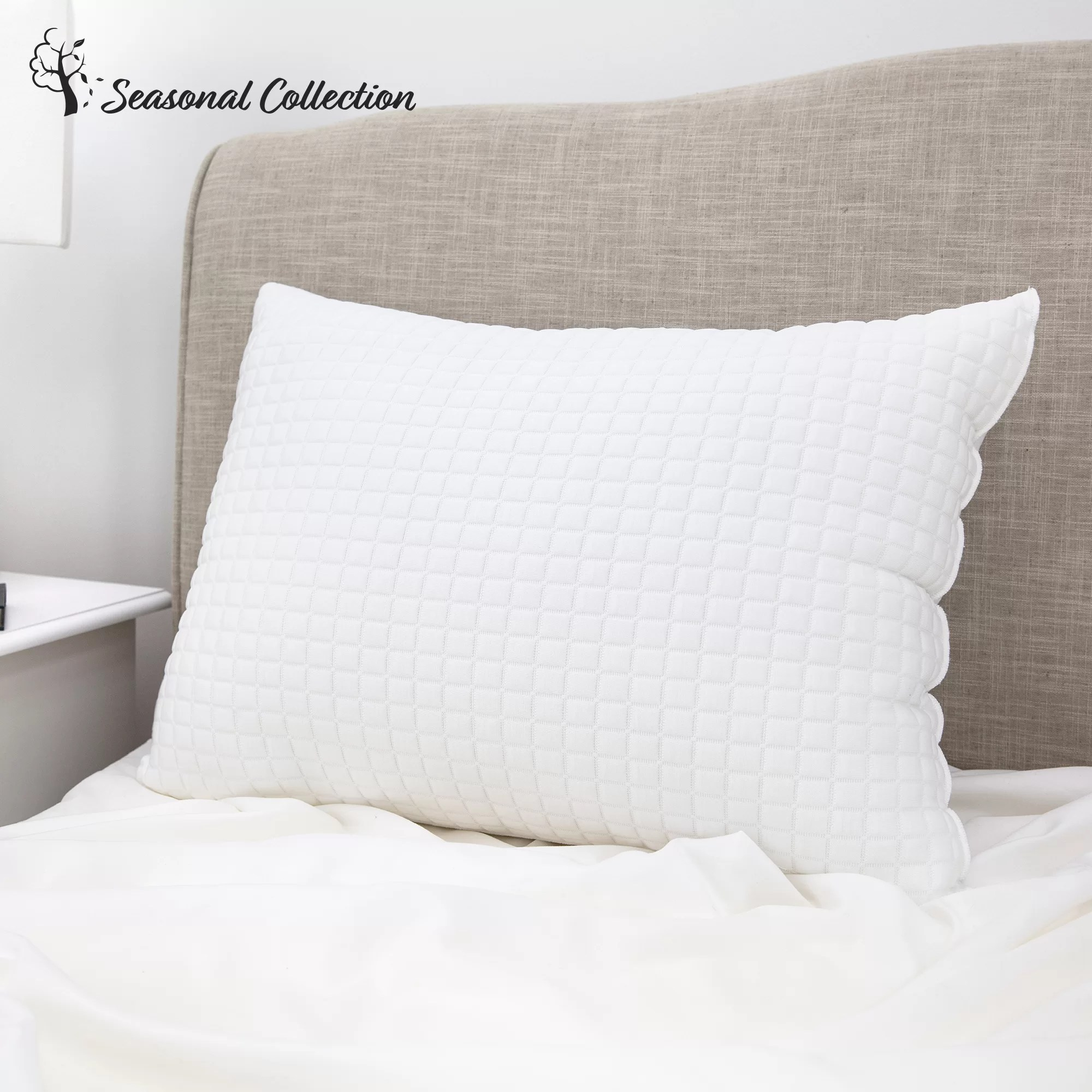Standard Bed Pillows All Seasons Reversible Plush Fiber Standard Cooling Bed Pillow